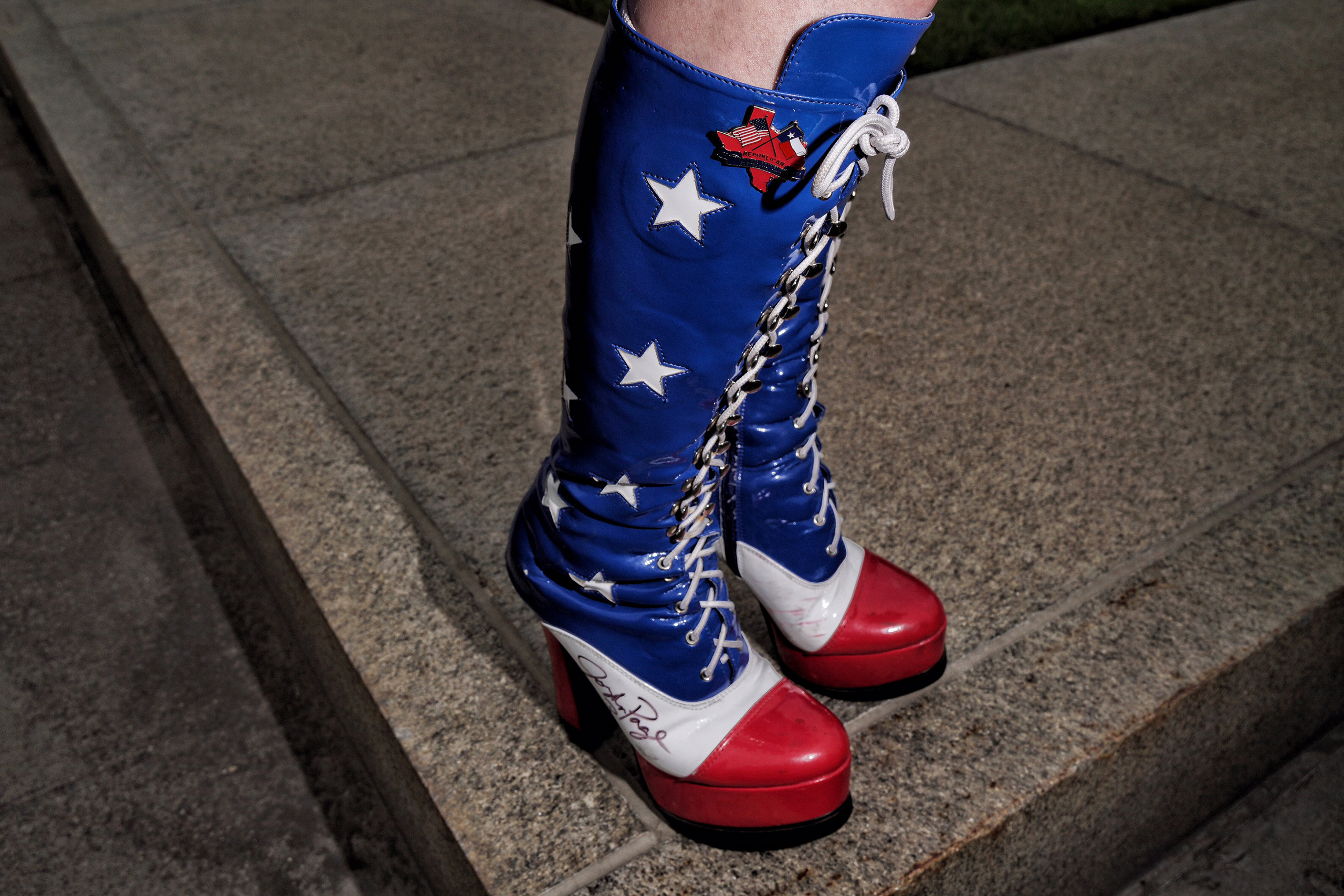 A patriotic fashion statement on the streets of downtown Cleveland, July 17, 2016.