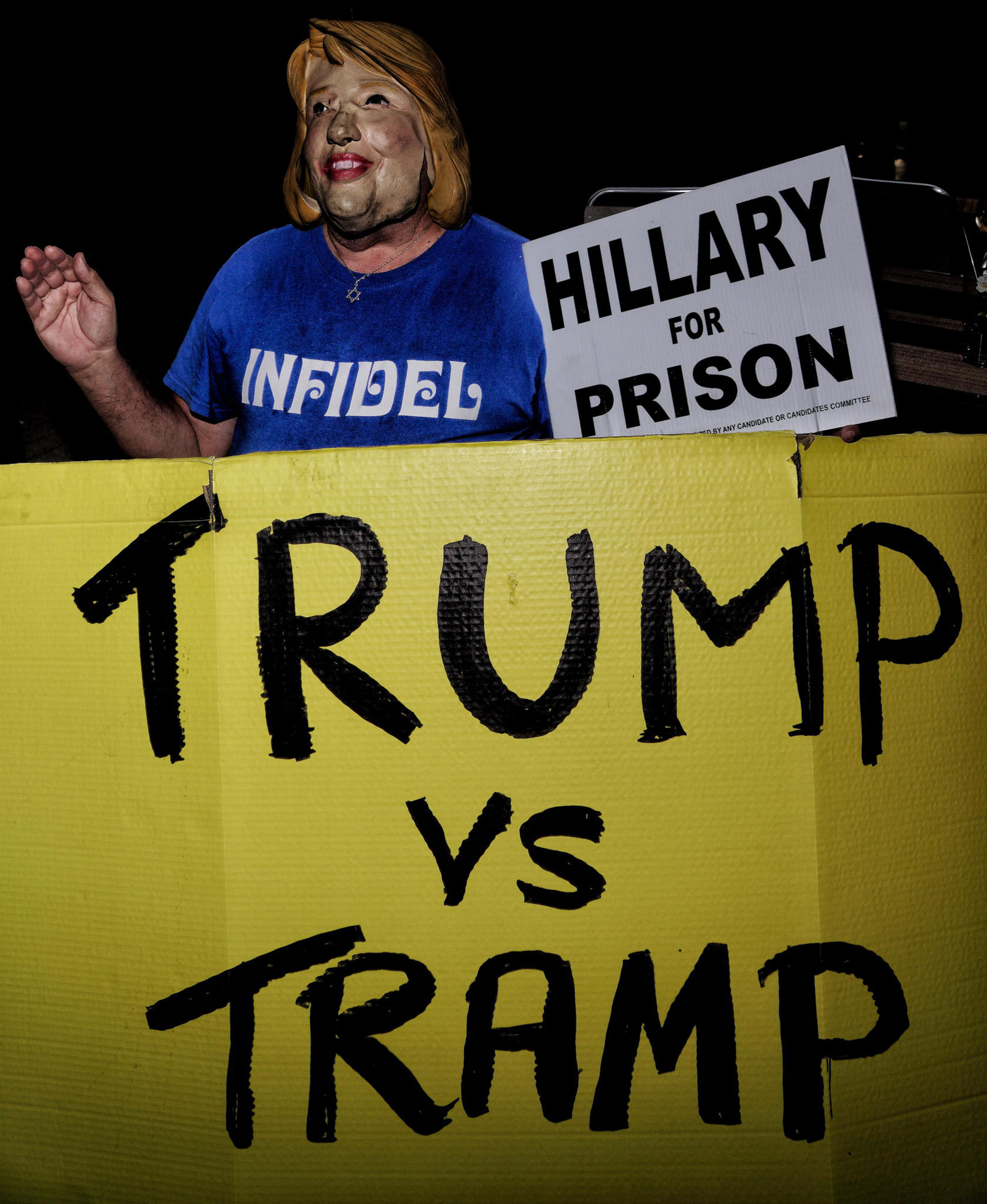 A po Trump supporter amid preparations for start of the Republican National Convention in downtown Cleveland on July 17, 2016