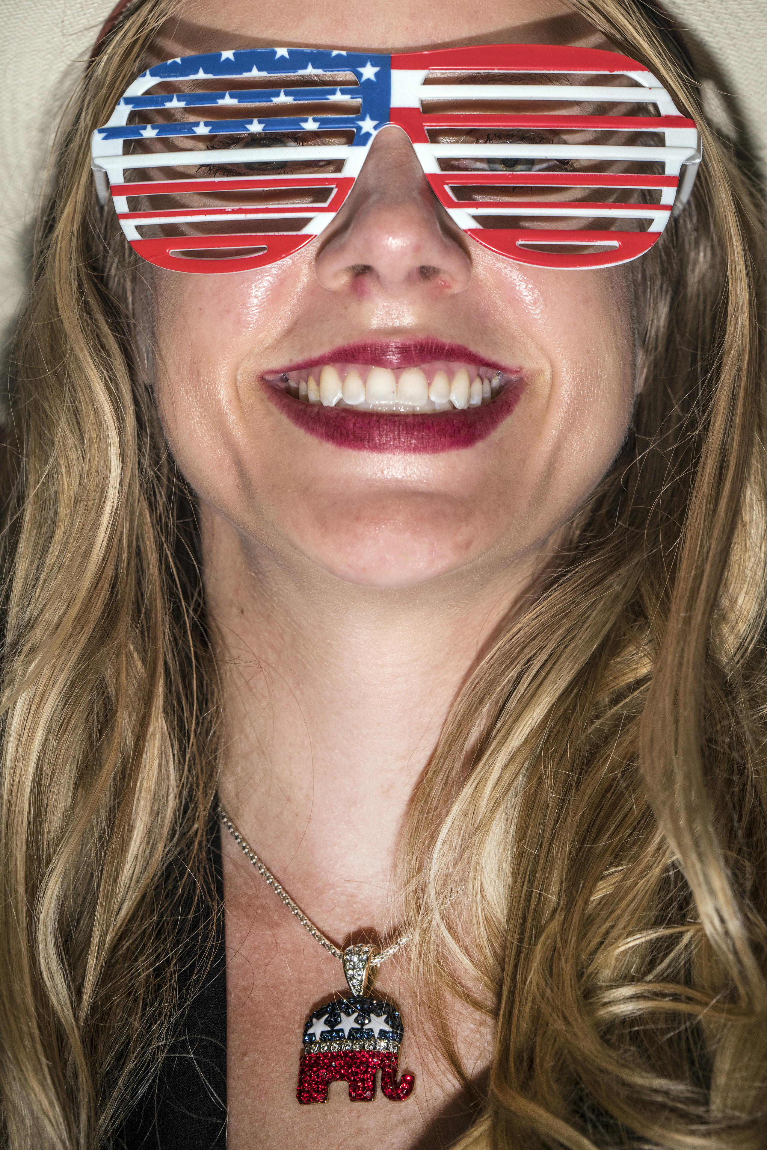 Patriotic glasses on a Trump supporter at the Republican National Convention on July 22, 2016, at the Quicken Loans Arena in Cleveland, Ohio.