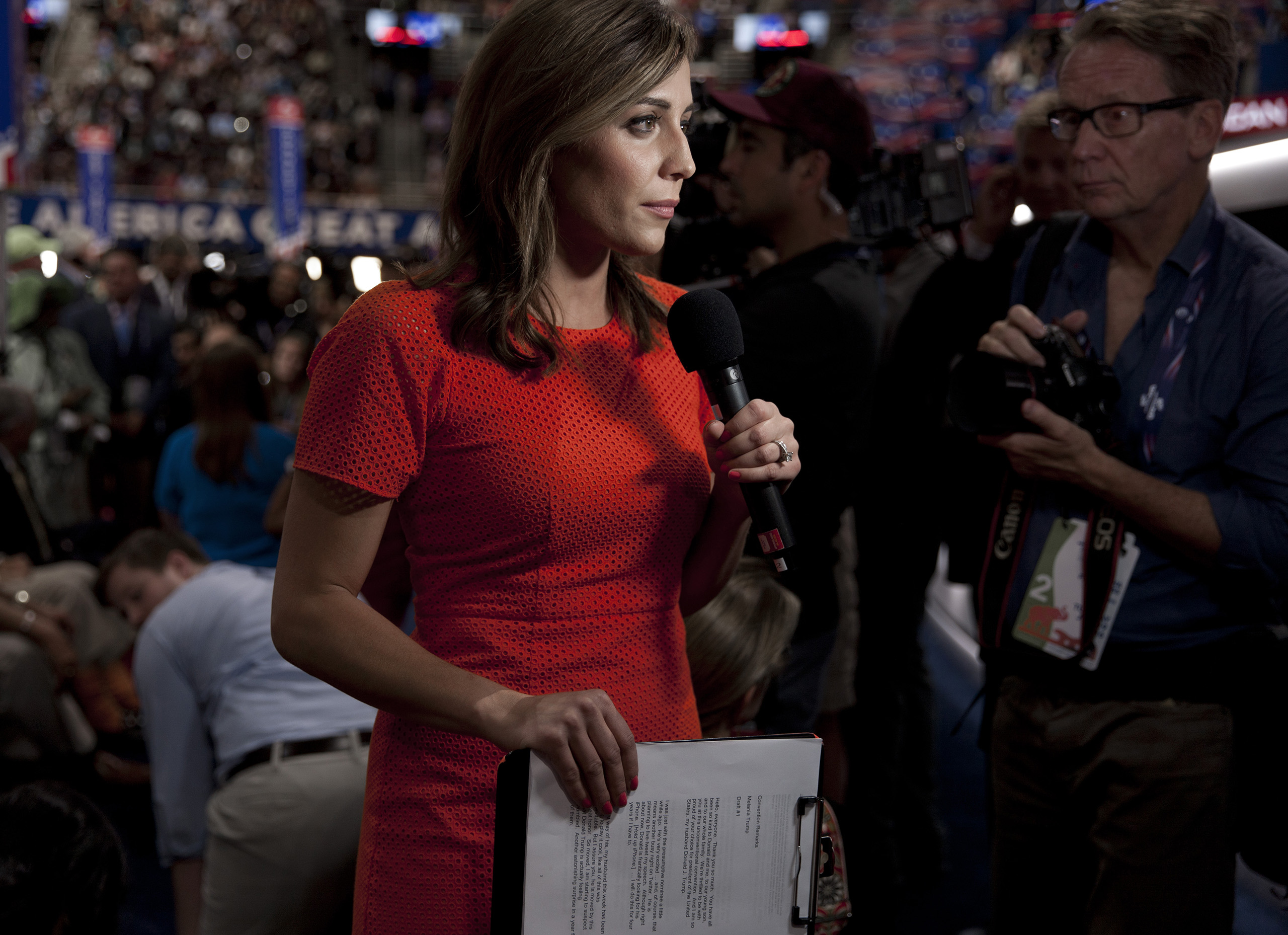 Media at the Republican National Convention on July 19, 2016 at the Quicken Loans Arena in Cleveland.