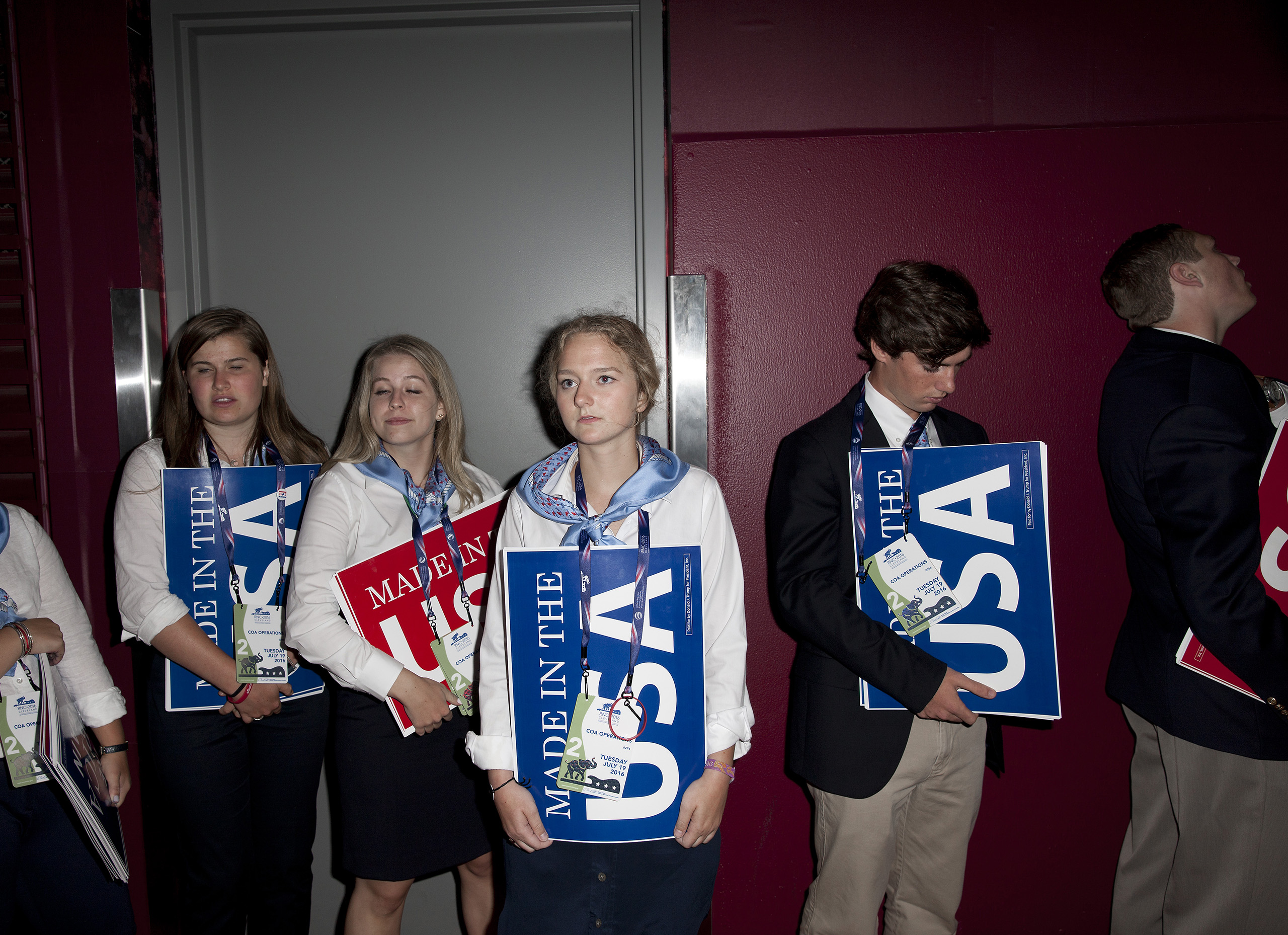Young attendees at the Republican National Convention on July 19, 2016 at the Quicken Loans Arena in Cleveland.