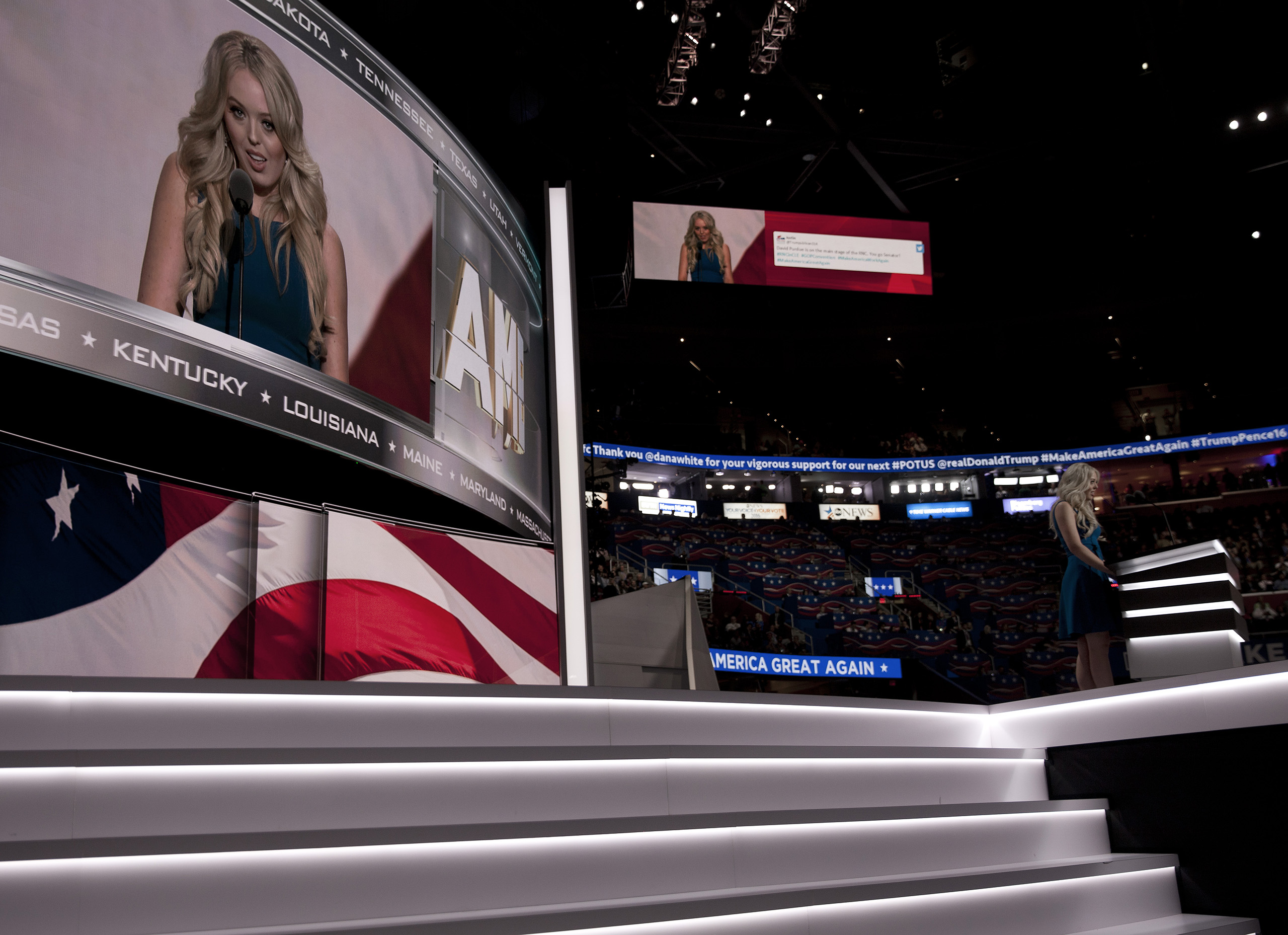 Tiffany Trump, walks off stage after delivering a speech on the second day of the Republican National Convention on July 19, 2016 at the Quicken Loans Arena in Cleveland, Ohio.