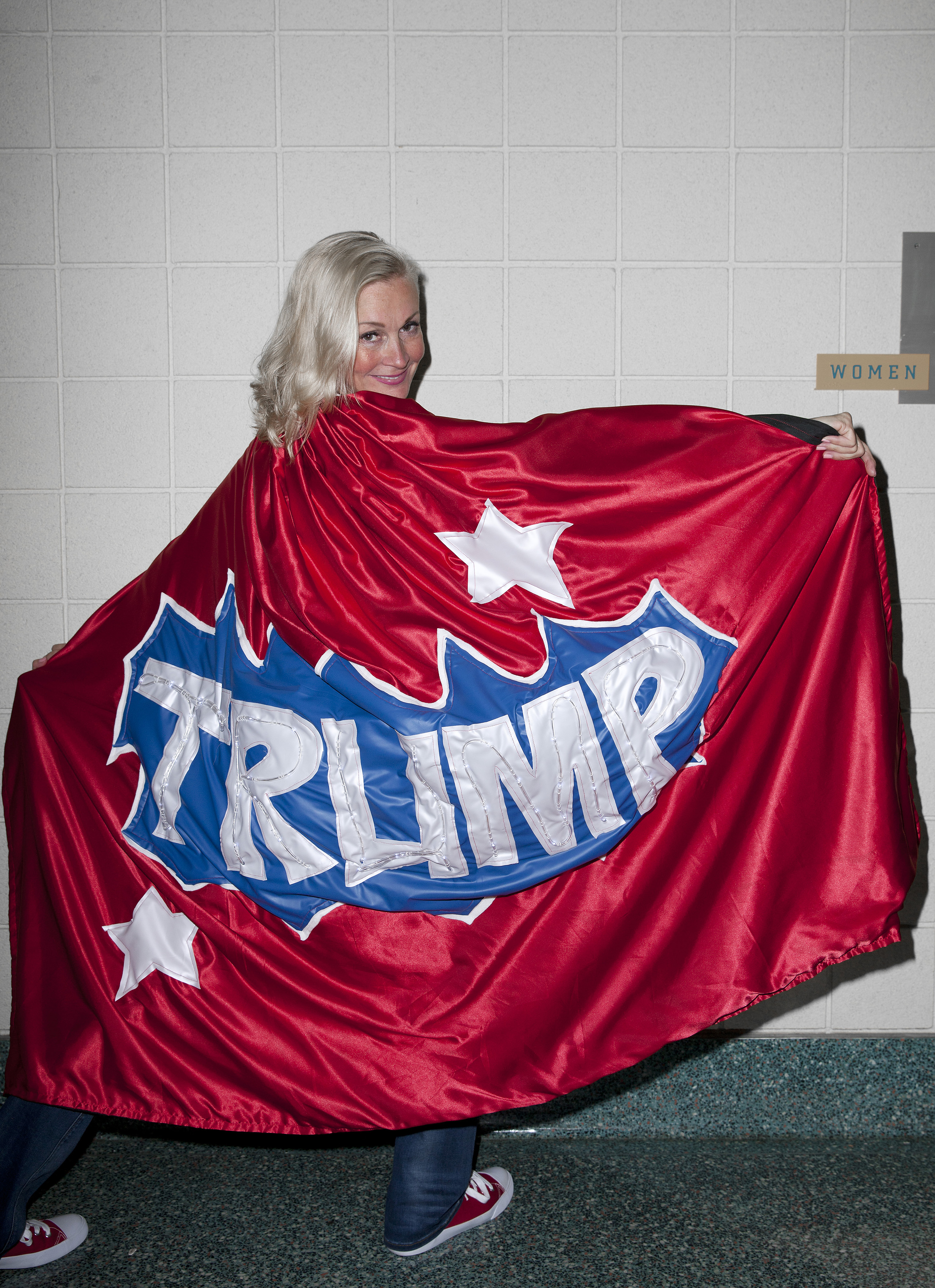 An attendee from Minnesota in a Trump cape at the Republican National Convention, on July 19, 2016 in Cleveland, Ohio.