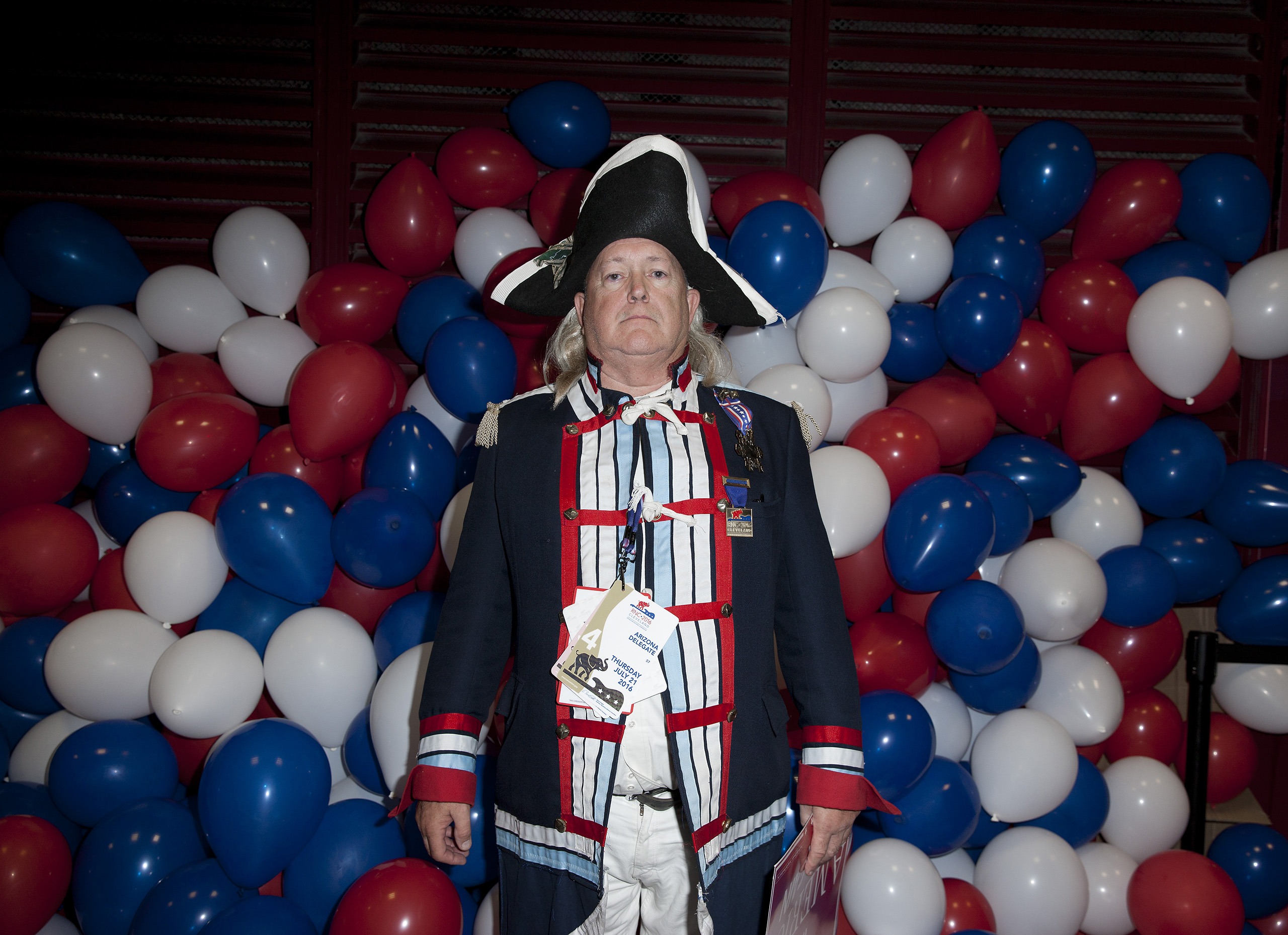 An attendees in colonial dress at the Republican National Convention on July 21, 2016 at the Quicken Loans Arena in Cleveland.
