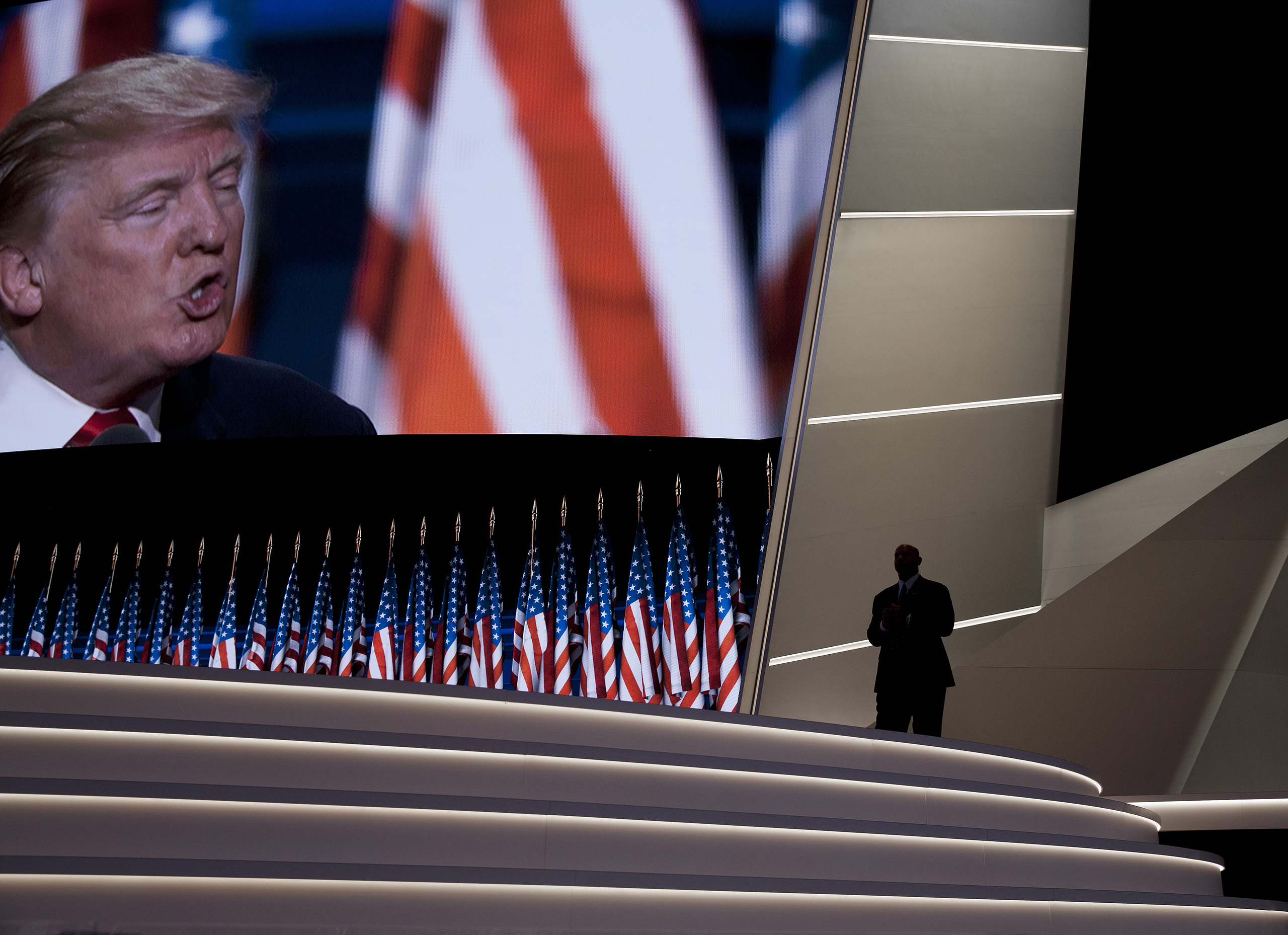 Republican presidential candidate Donald Trump delivers his speech at the Republican National Convention on July 21, 2016 at the Quicken Loans Arena in Cleveland.