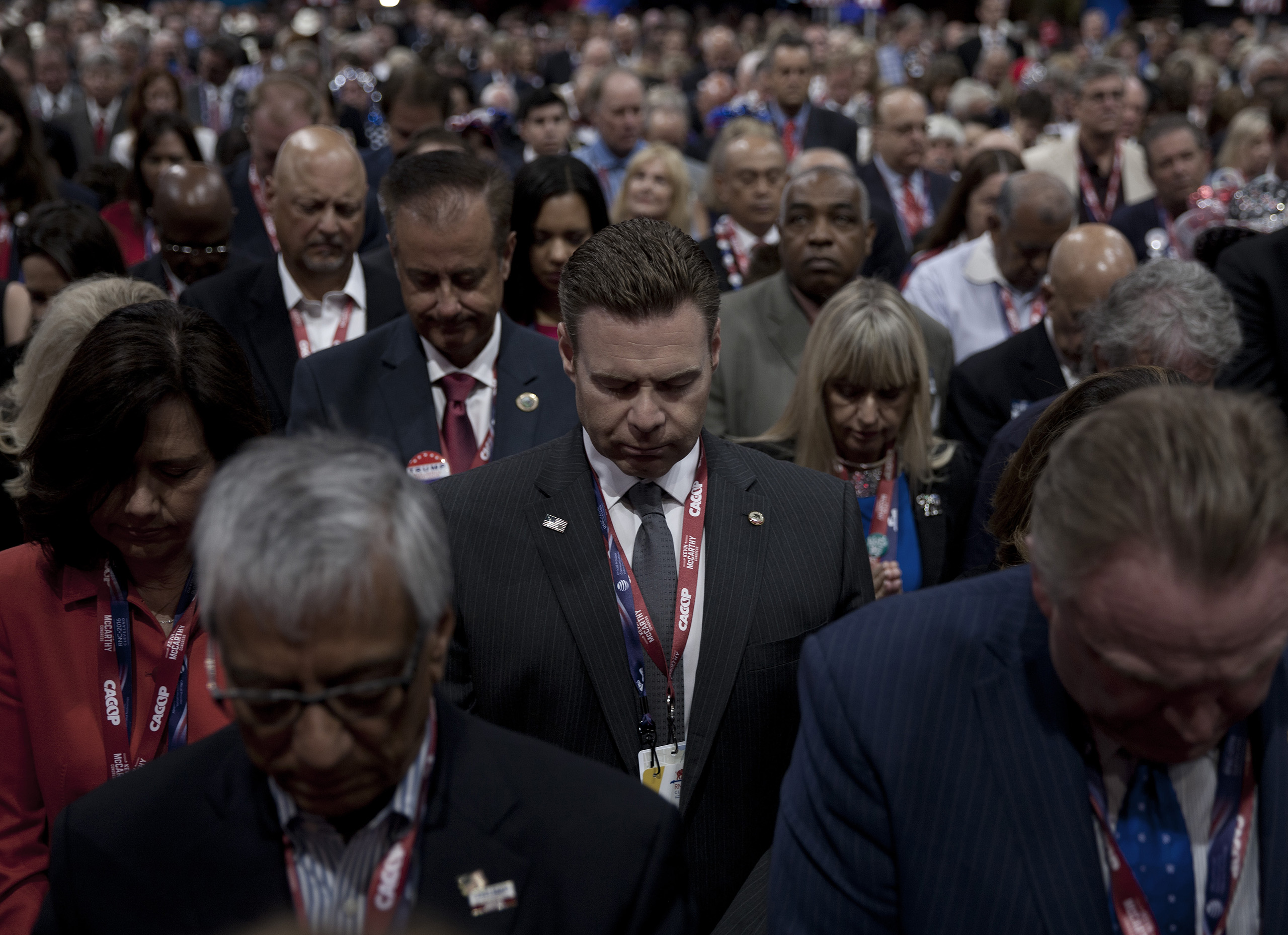 A moment of prayer Republican National Convention on July 21, 2016 at the Quicken Loans Arena in Cleveland.