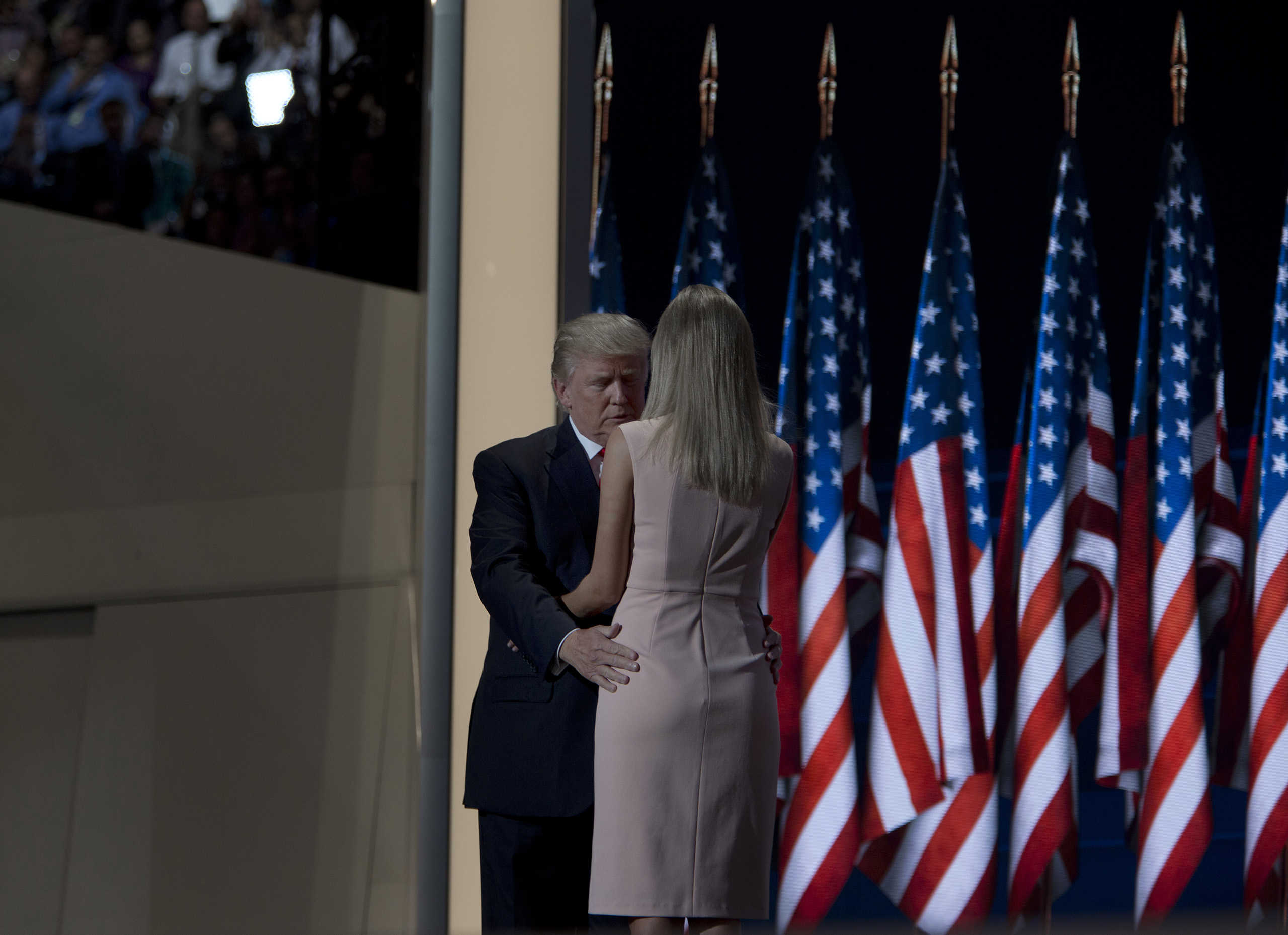 Republican presidential candidate Donald Trump and greets his daughter Ivanka onstage at the Republican National Convention on July 21, 2016 at the Quicken Loans Arena in Cleveland.
