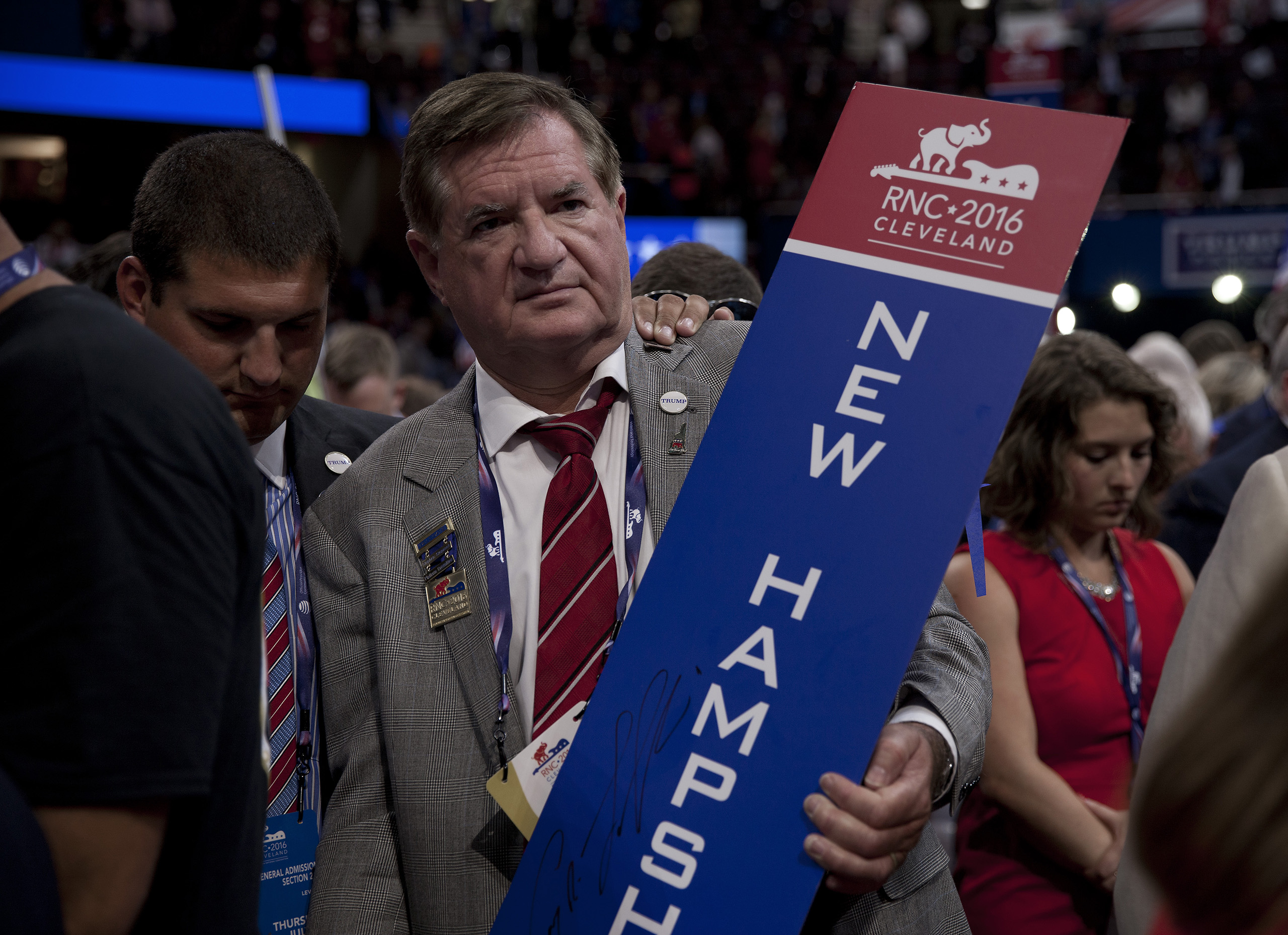 A delegate from New Hampshire after the Republican National Convention on July 21, 2016 at the Quicken Loans Arena in Cleveland.