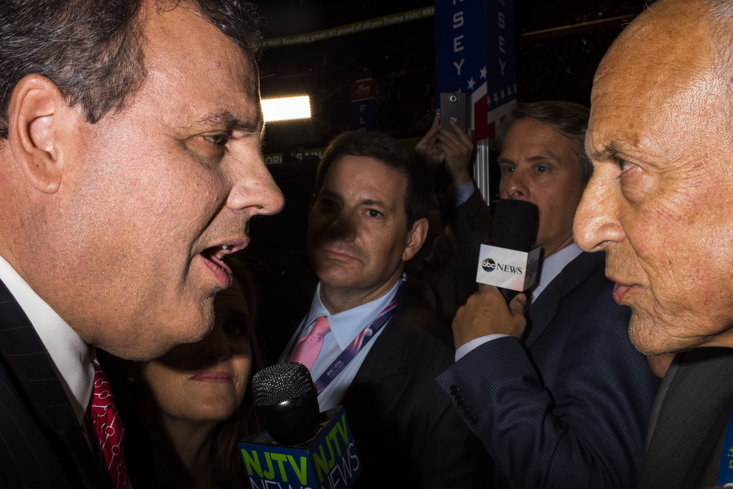 New Jersey Gov. Chris Christie speaks to reporters at the Republican National Convention, July 19, 2016 in Cleveland.