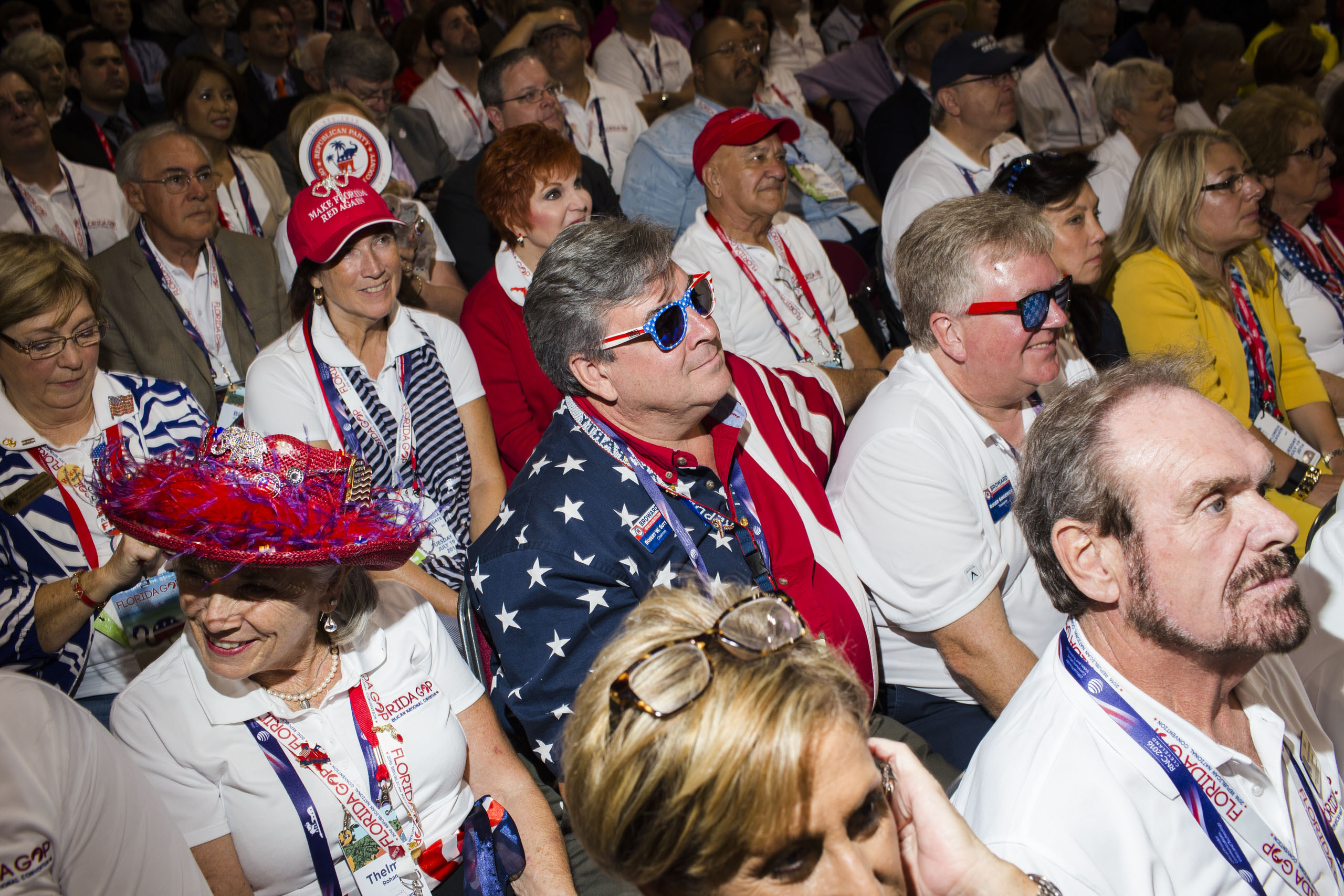 Florida delegates listen to speeches at the Republican National Convention, July 19, 2016 in Cleveland.