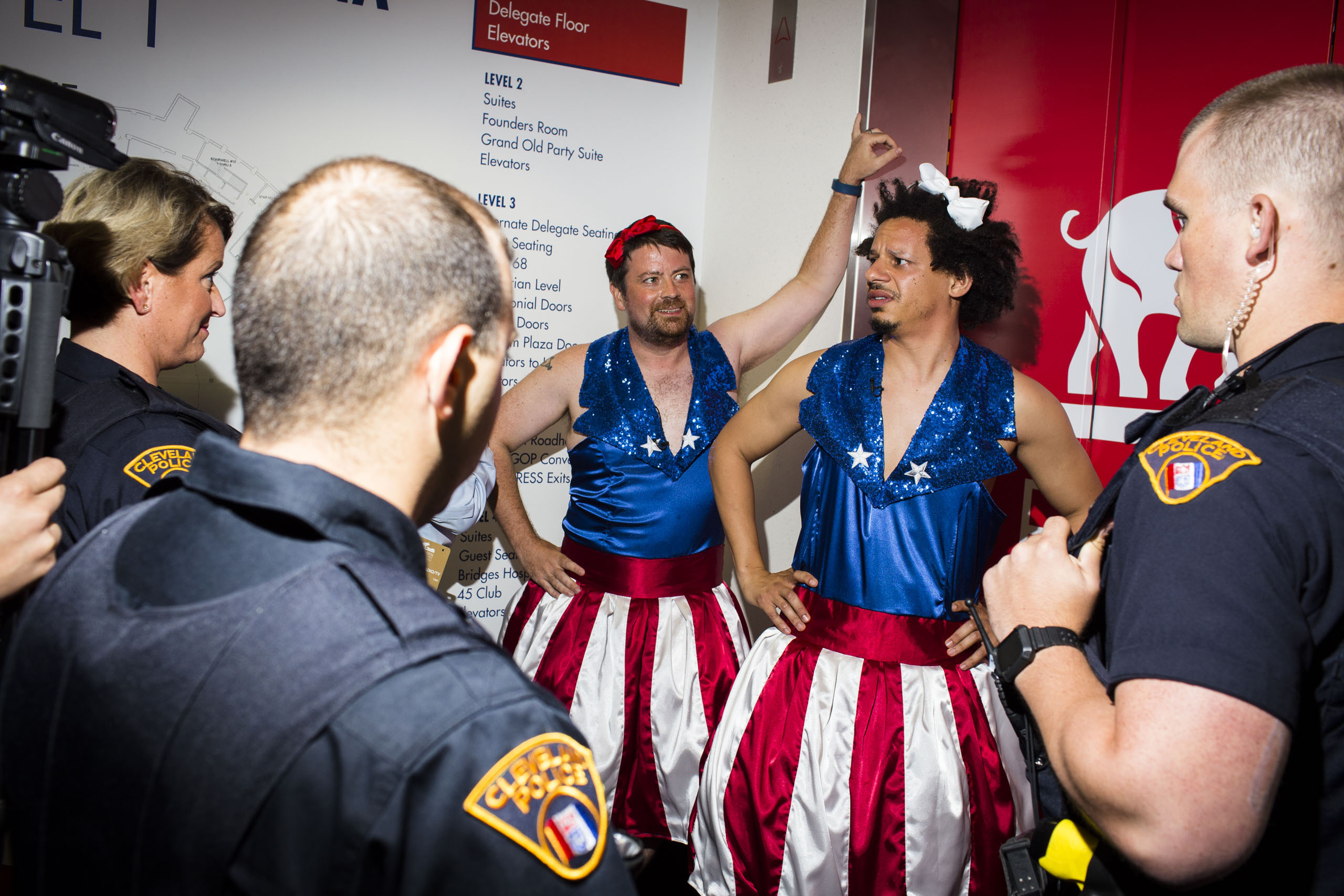 Comedian Eric Andre, dressed as a Trump USA Freedom Kid is questioned by security at the Republican National Convention, July 19, 2016 in Cleveland.