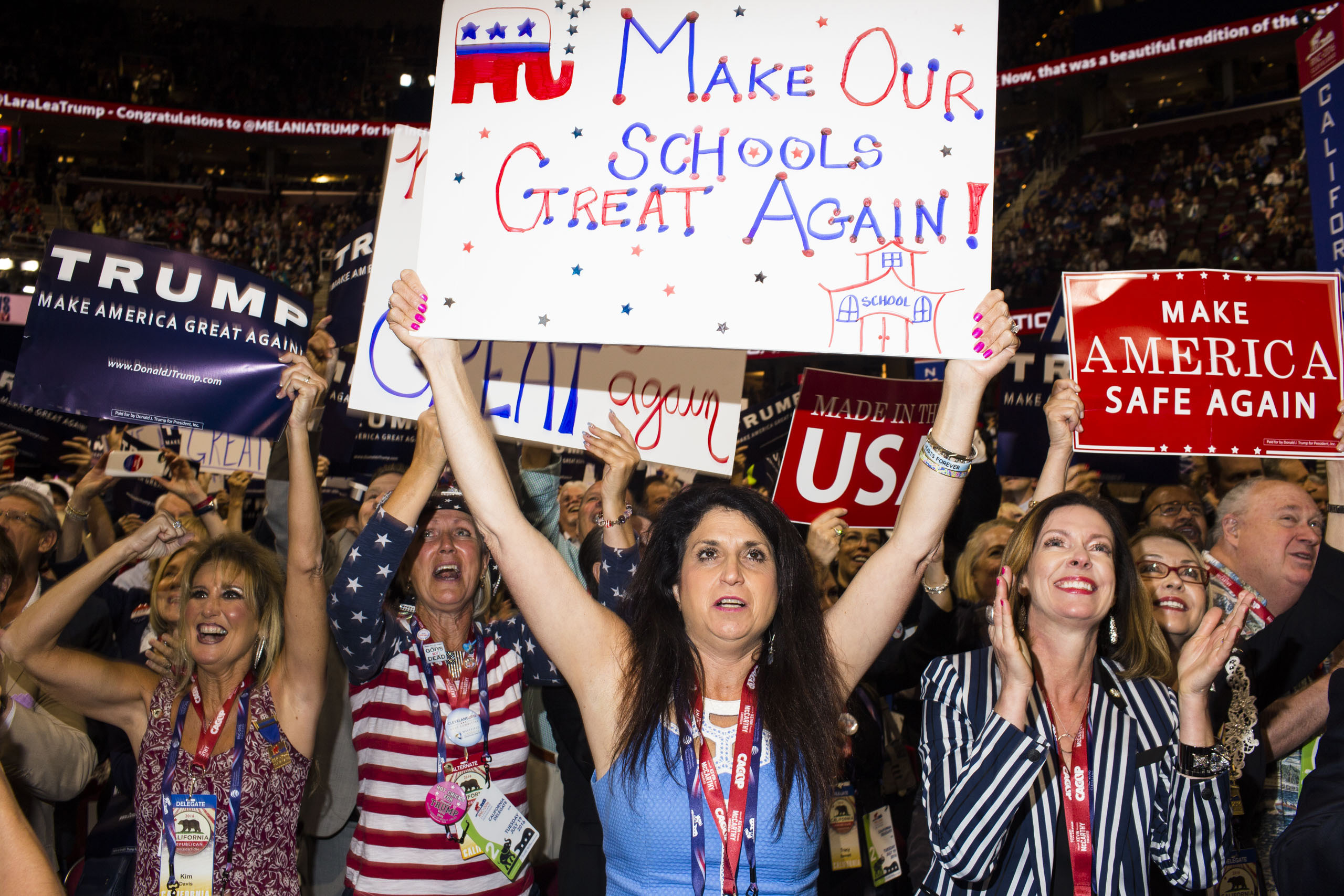 California delegates on the floor at the Republican National Convention, July 19, 2016 in Cleveland.