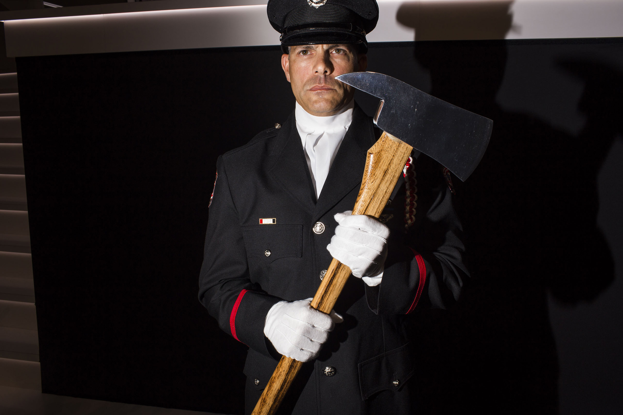 A member of the honor guard on the first day of  the Republican National Convention, July 18, 2016 in Cleveland.