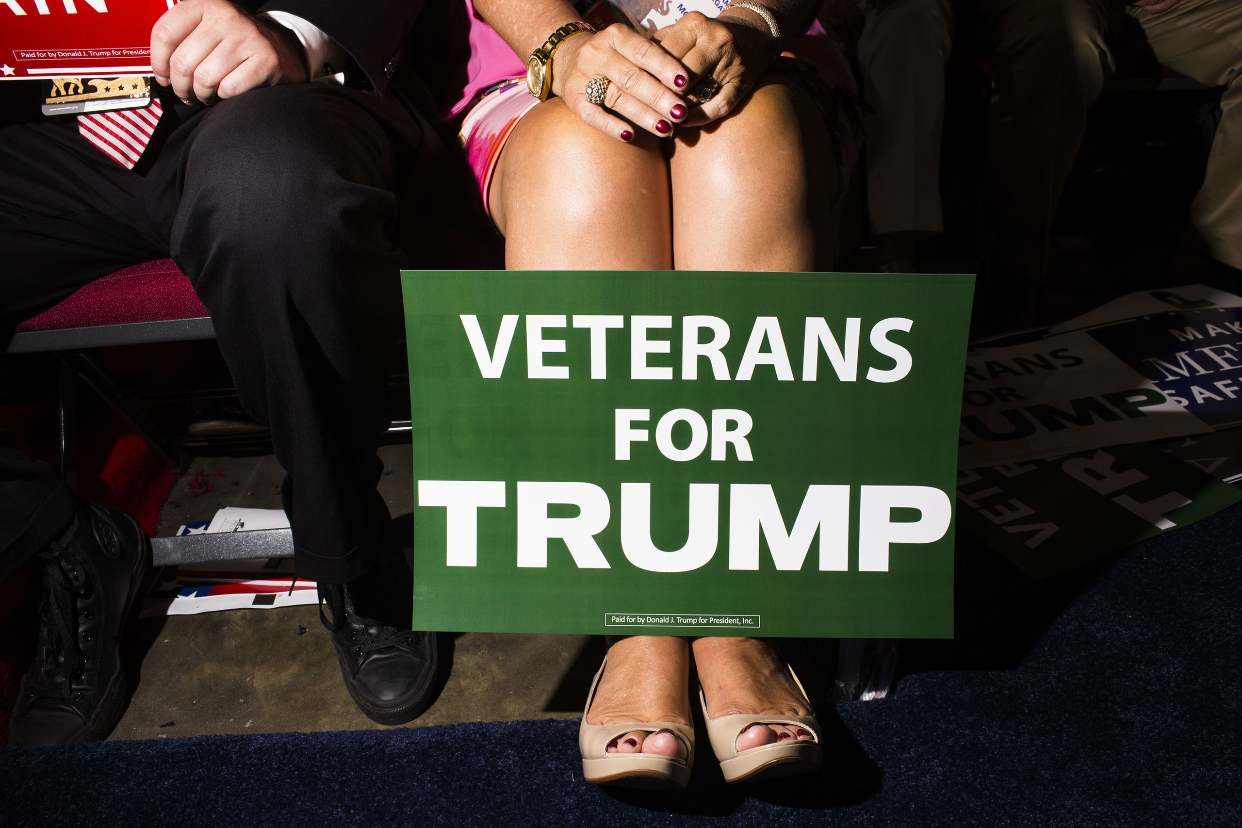 Veterans for Trump supporter on the floor at the Republican National Convention, July 18, 2016 in Cleveland.