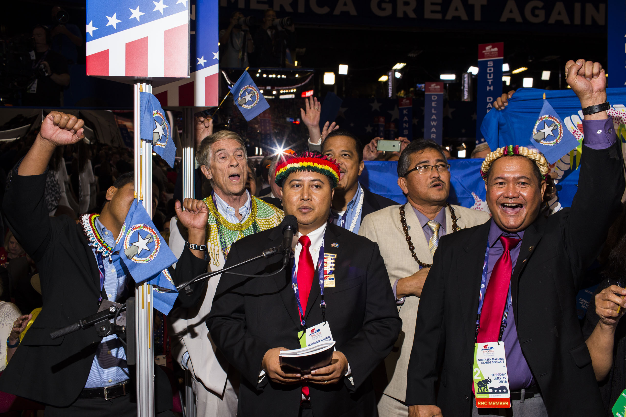 Northern Mariana Island delegates on the floor at the Republican National Convention, July 19, 2016 in Cleveland.