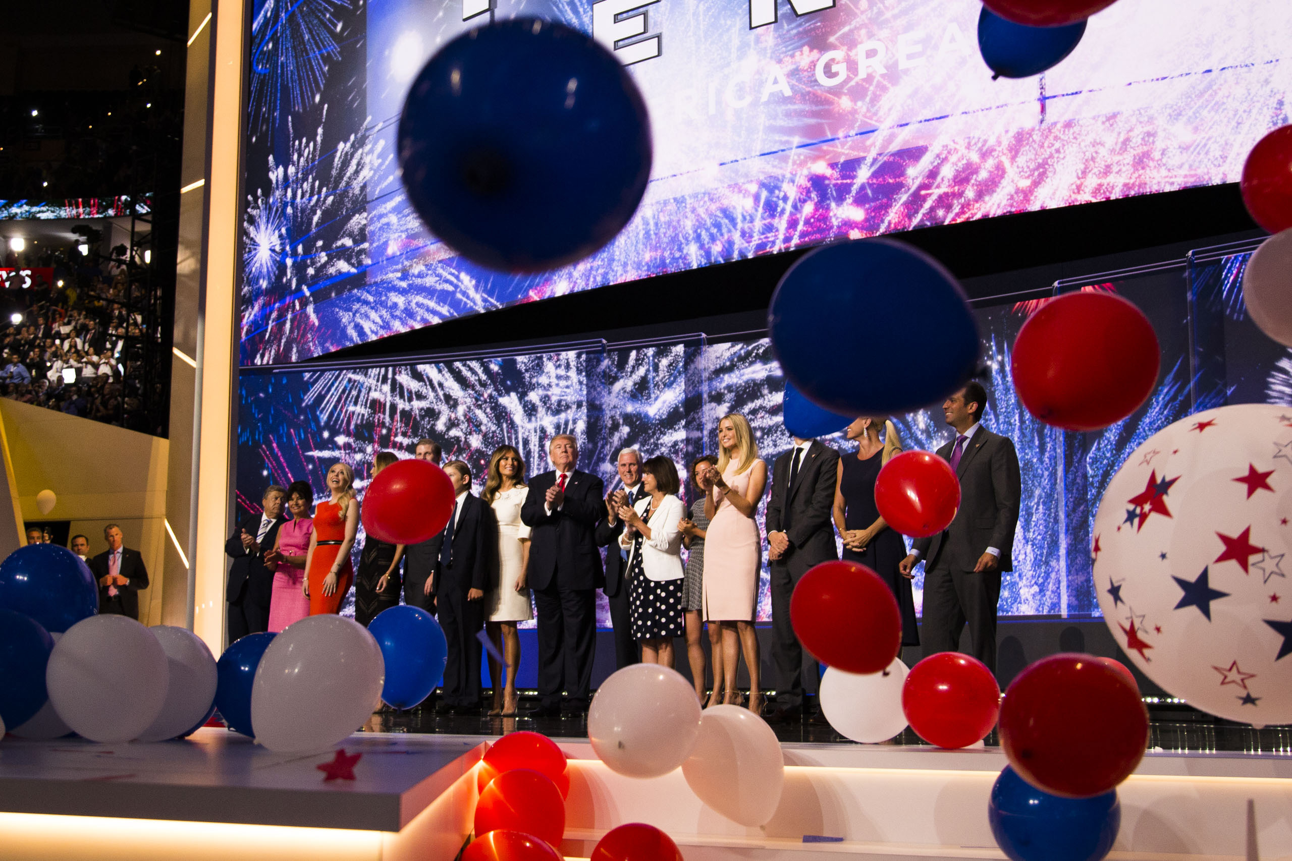 Republican Presidential Candidate Donald Trump and his family celebrate the closing of the 2016 Republican National Convention in Cleveland on Thursday, July 21, 2016.