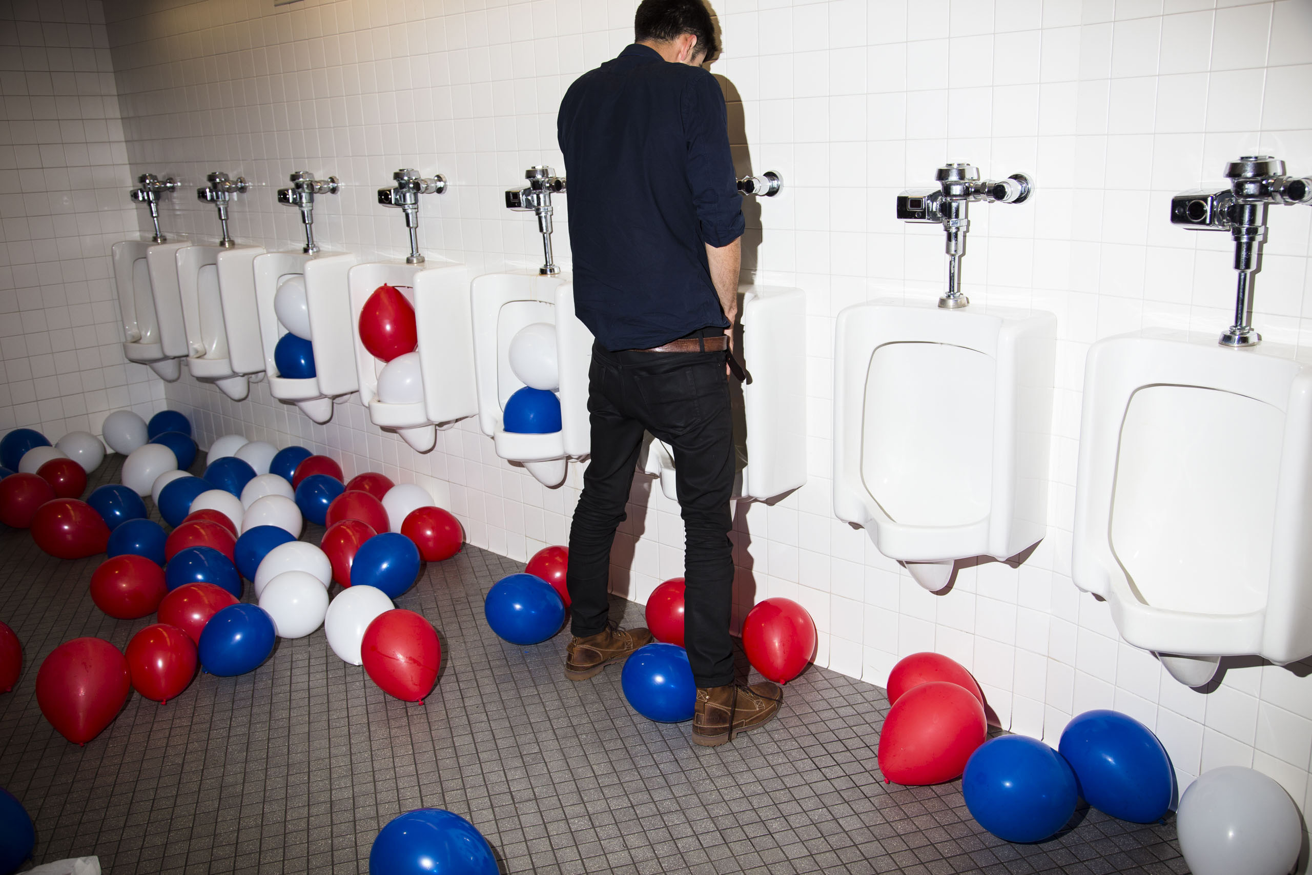 The mens room at the end of the Republican National Convention in Cleveland on Thursday, July 21, 2016.