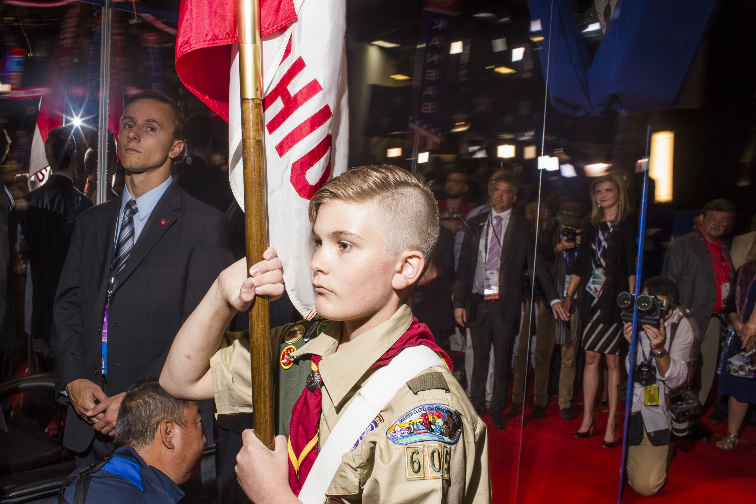 Boy Scouts of America at the opening of the third day of the Republican National Convention, July 20, 2016 at the Quicken Loans Arena in Cleveland, Ohio.