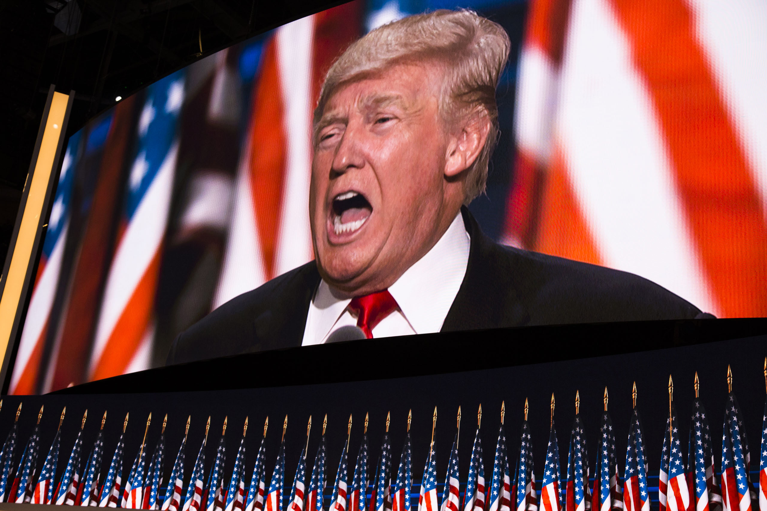 Donald Trump delivers a speech during the evening session on the fourth day of the Republican National Convention at the Quicken Loans Arena in Cleveland, Ohio, on July 21, 2016.