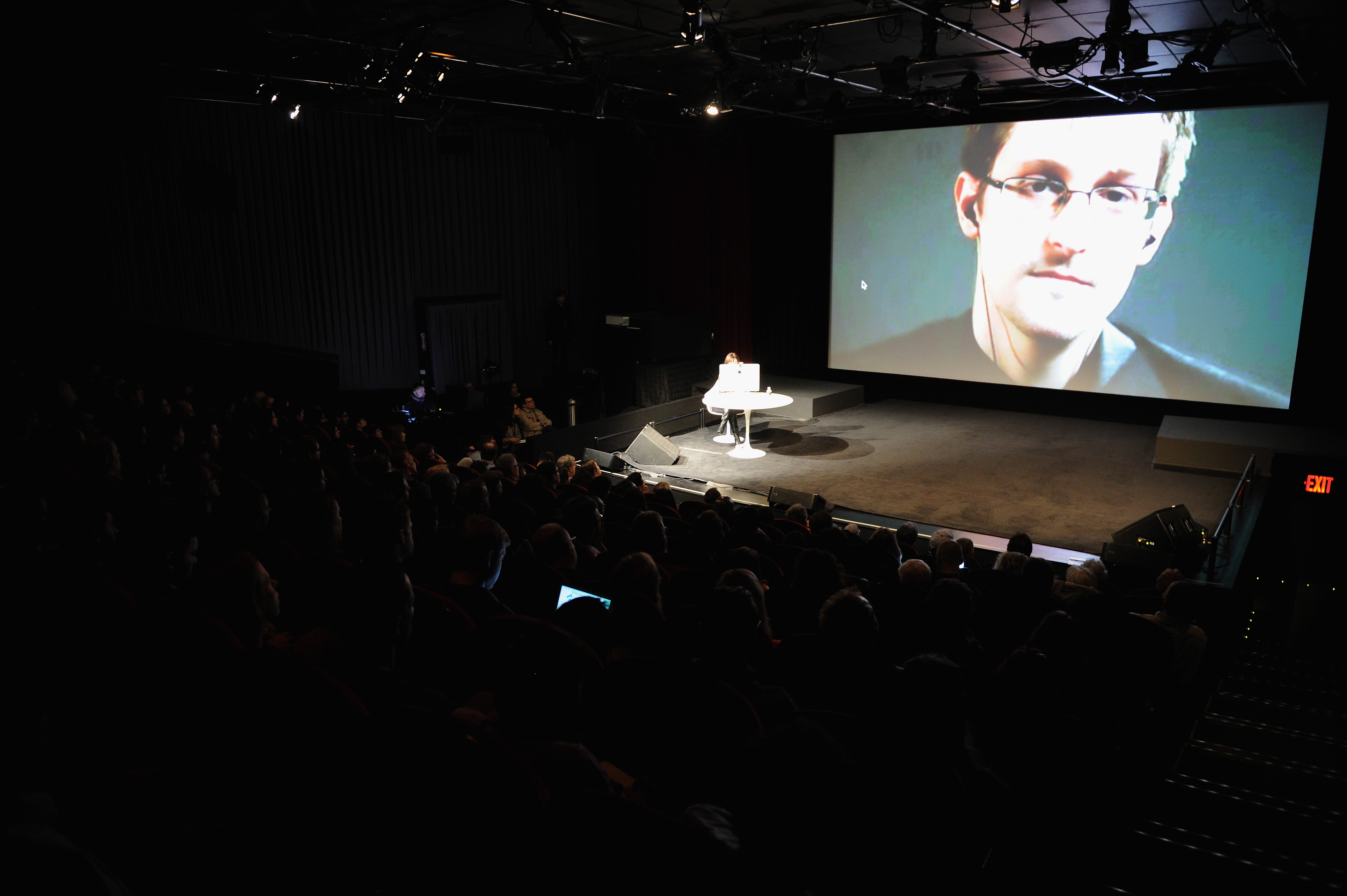 General view of atmosphere at Edward Snowden Interviewed by Jane Mayer at the MasterCard stage at SVA Theatre during The New Yorker Festival on Oct. 11, 2014