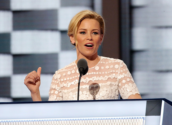 Actress Elizabeth Banks delivers remarks on day two of the 2016 Democratic National Convention at Wells Fargo Center on July 26, 2016 in Philadelphia, Pennsylvania.