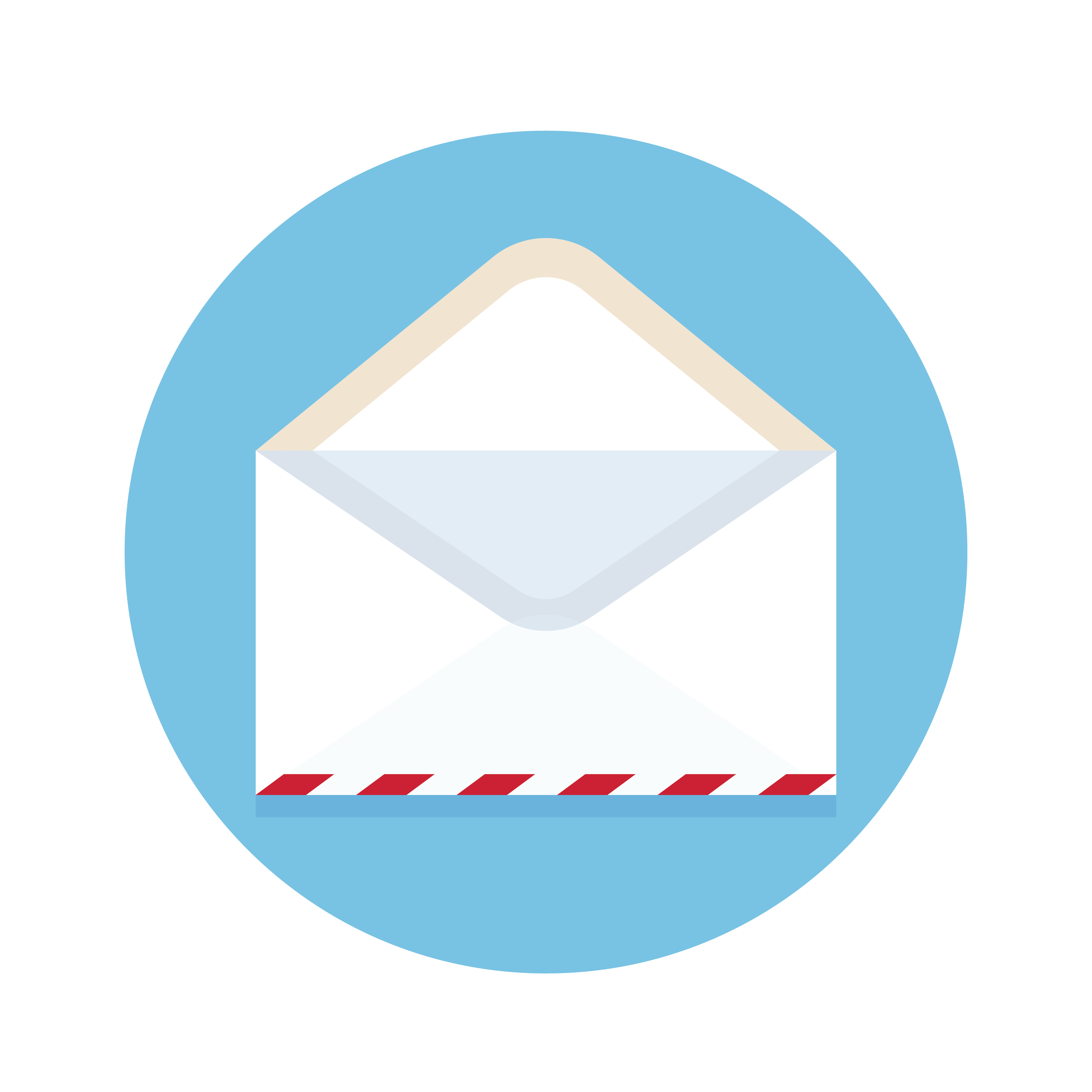 Icon of open new mail envelope. White envelope on a blue background. Vector illustration