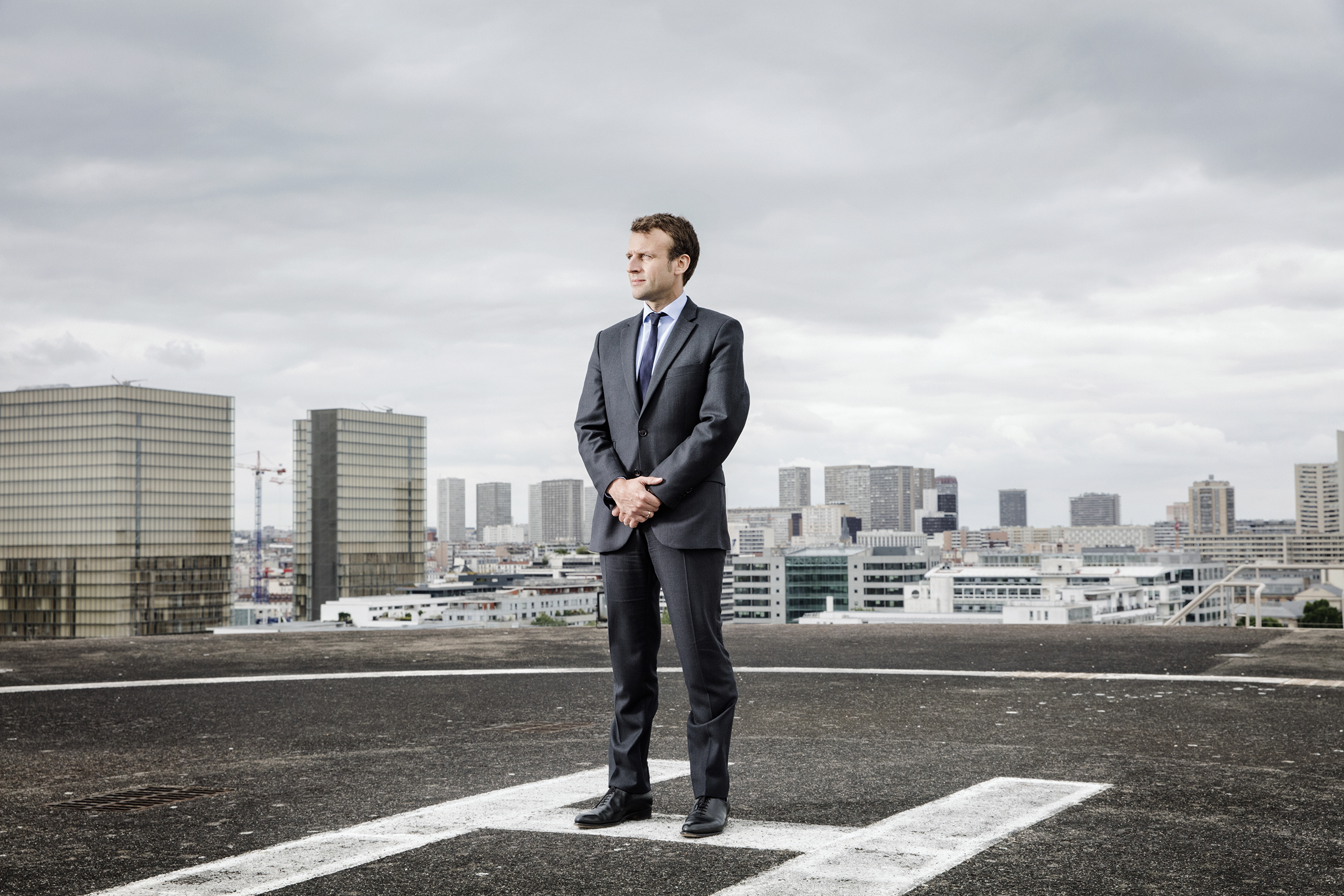 Emmanuel Macron, France's Minister for the Economy, Industry and Digital Affairs, on the heliport of the the Ministry of Economy and Finance in Paris on June 13, 2016.