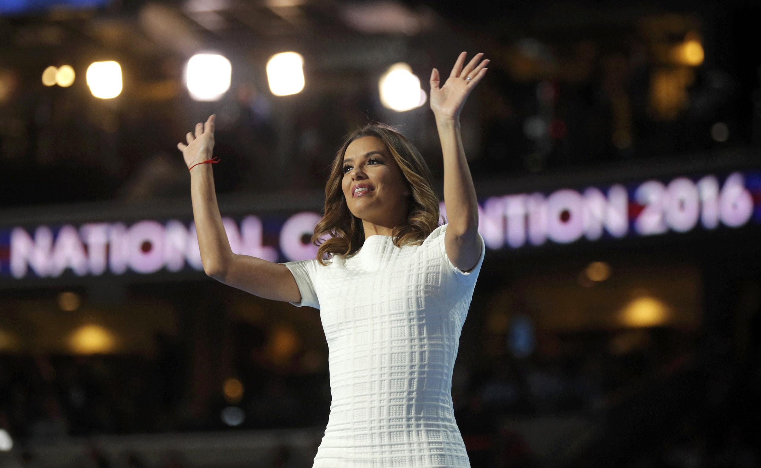 Actress Eva Longoria arrives onstage to speak at the Democratic National Convention in Philadelphia on  July 25, 2016.