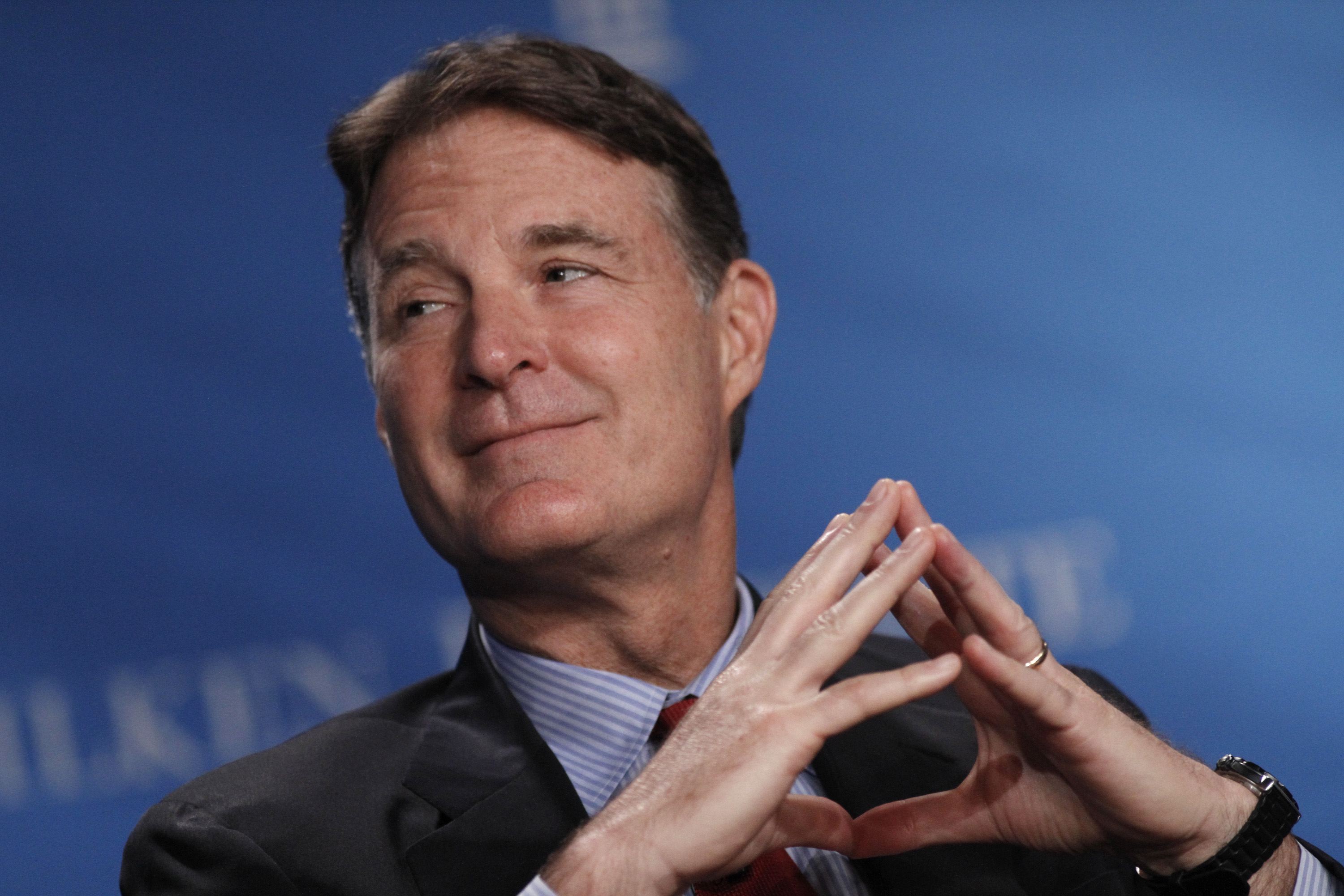 Former Senator Evan Bayh, senior advisor with Apollo Global Management, participates in a panel discussion at the annual Milken Institute Global Conference in Beverly Hills, California, U.S., on Tuesday, May 1, 2012.