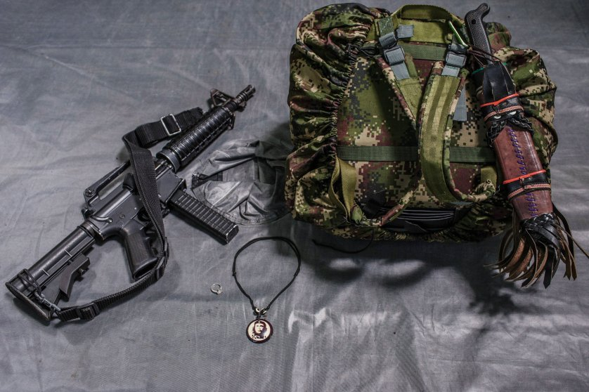 "The backpack carried by 31-year-old FARC commander, ""Brenda."" She has been a member of FARC for 15 years. Besides, her rifle, pistol, and commuter for intelligence mission, she always has space in her backpack for nail polish and perfume.  Her boyfriend is also a member of FARC."
