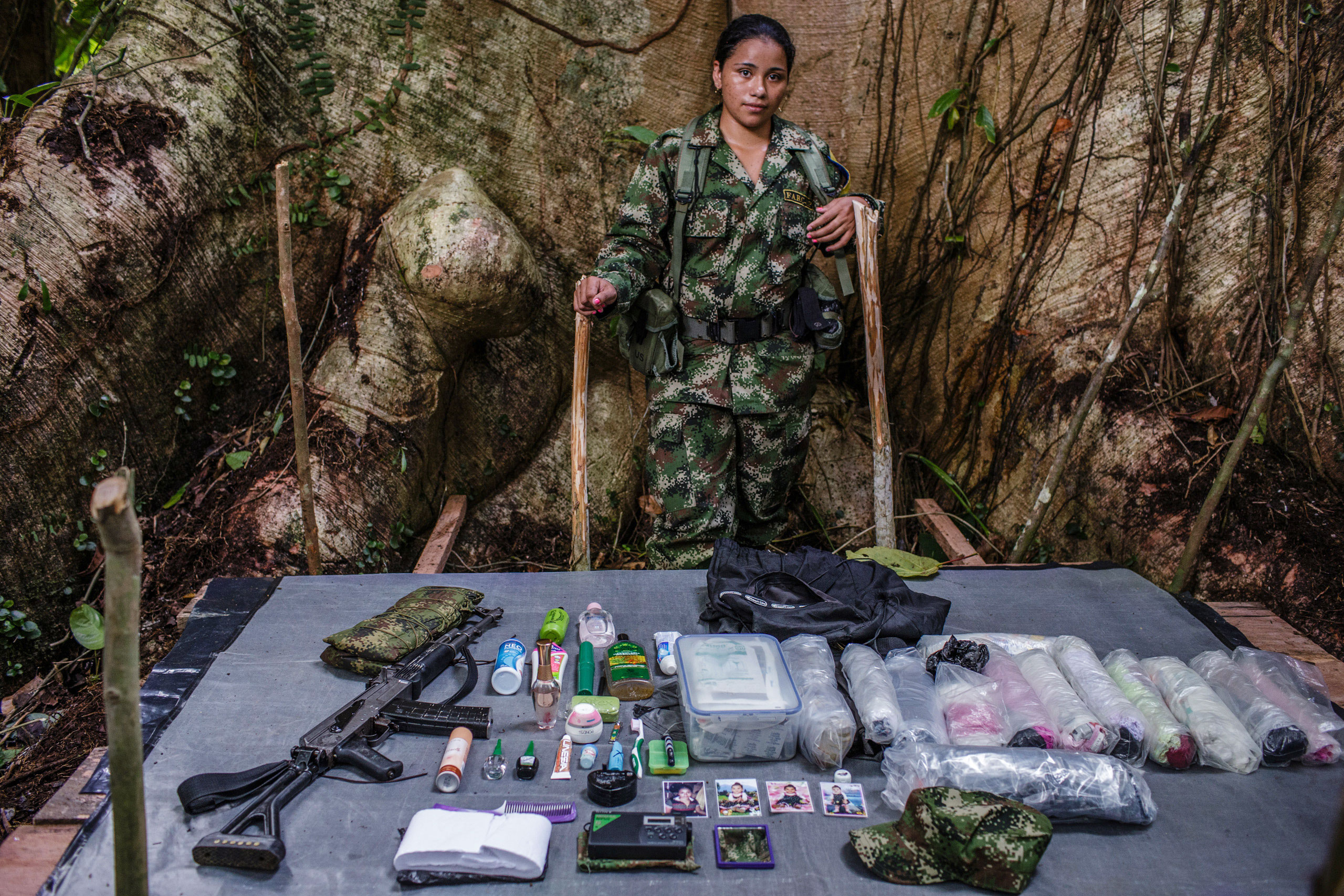 Katherine,   20-years old, has been with FARC for seven years.                                She has five older brothers, all of whom are guerrilla fighters. Katherine is a nurse who works with the FARC medical team. Her nine-month-old daughter lives with her grandmother.