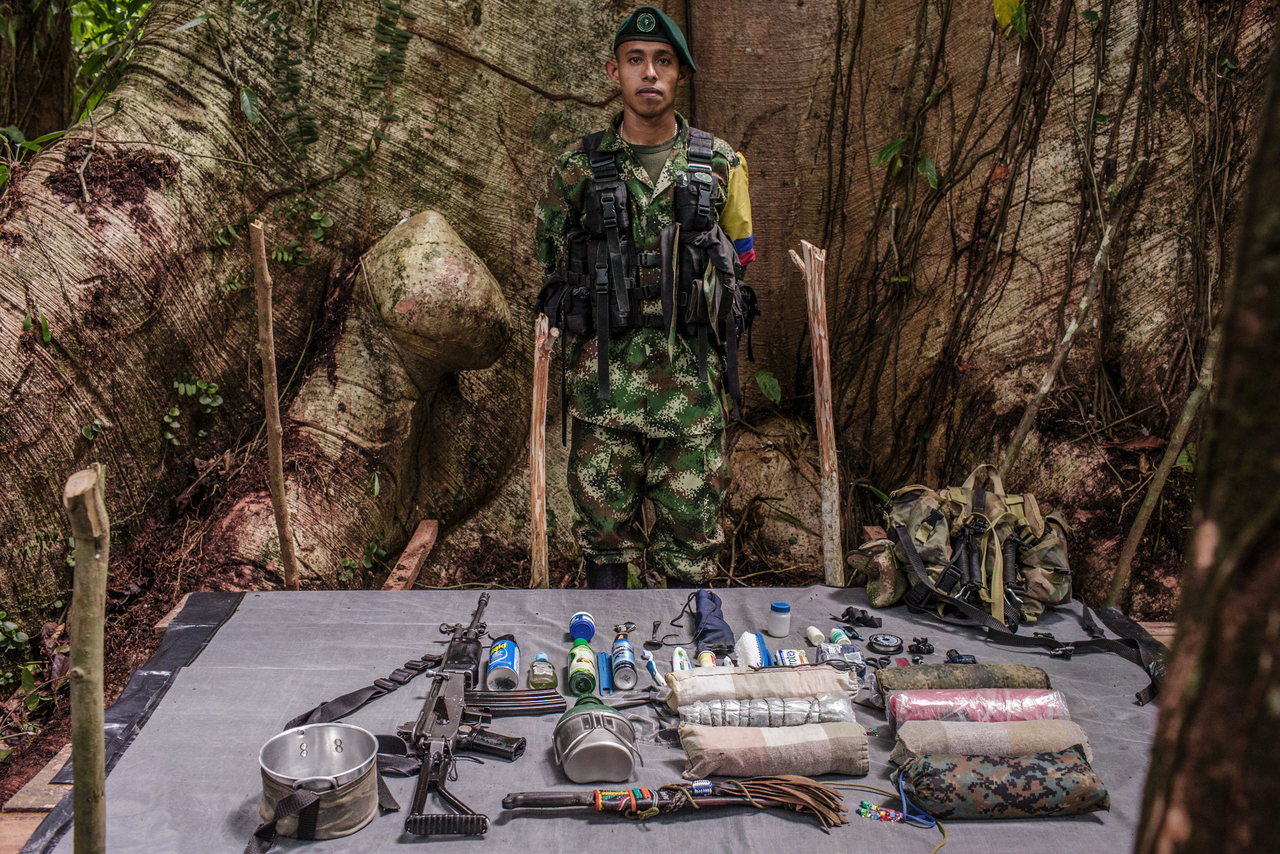 Andres, 24-years old, has been with FARC for 8 years.                                He has expert knowledge of the shallow rivers in the jungle, important terrain for moving troops.