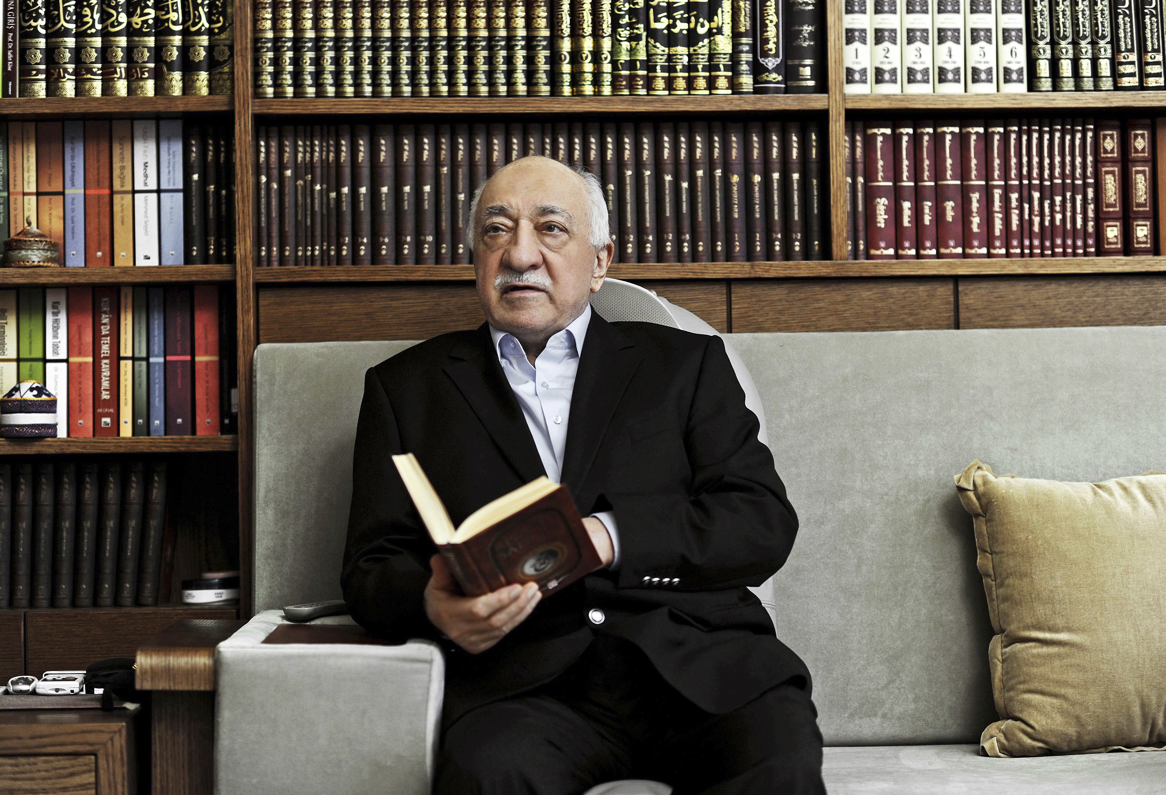 A file picture from March 15, 2014, shows Fethullah Gulen, an Islamic scholar and founder of the Gulen movement, during an interview at his residence in Pennsylvania.