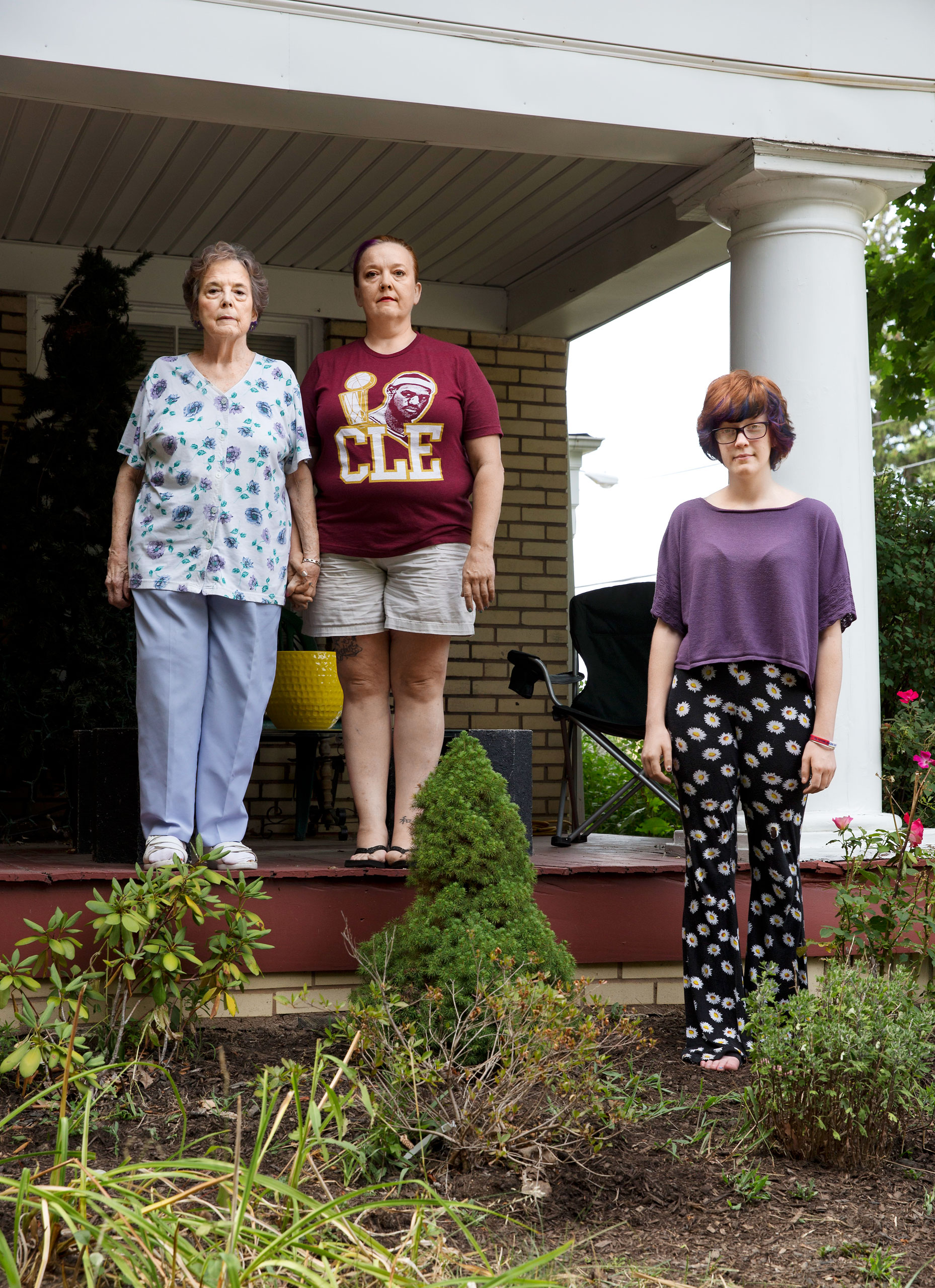 Carolyn Smith, 78; Cindy Smith, 49; and Josephine Sicking, 18, in front of Cindy's home in Cleveland Heights, Ohio