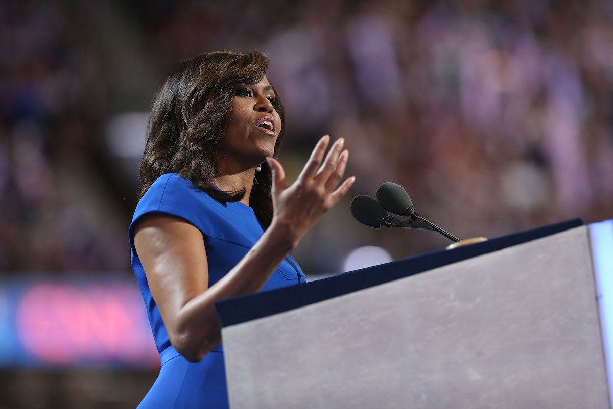 U.S. First Lady Michelle Obama speaks during the Democratic National Convention (DNC) in Philadelphia on  July 25, 2016.