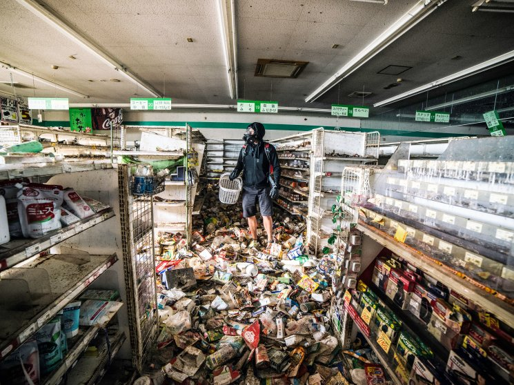 "Malaysian photographer Keow Wee Loong ventured — ghostlike, if you will — into the Fukushima Exclusion Zone, within the twelve-mile radius around the old power plant, in June. The photographer ""shops"" in the super market York Benimaru on June 4, 2016."