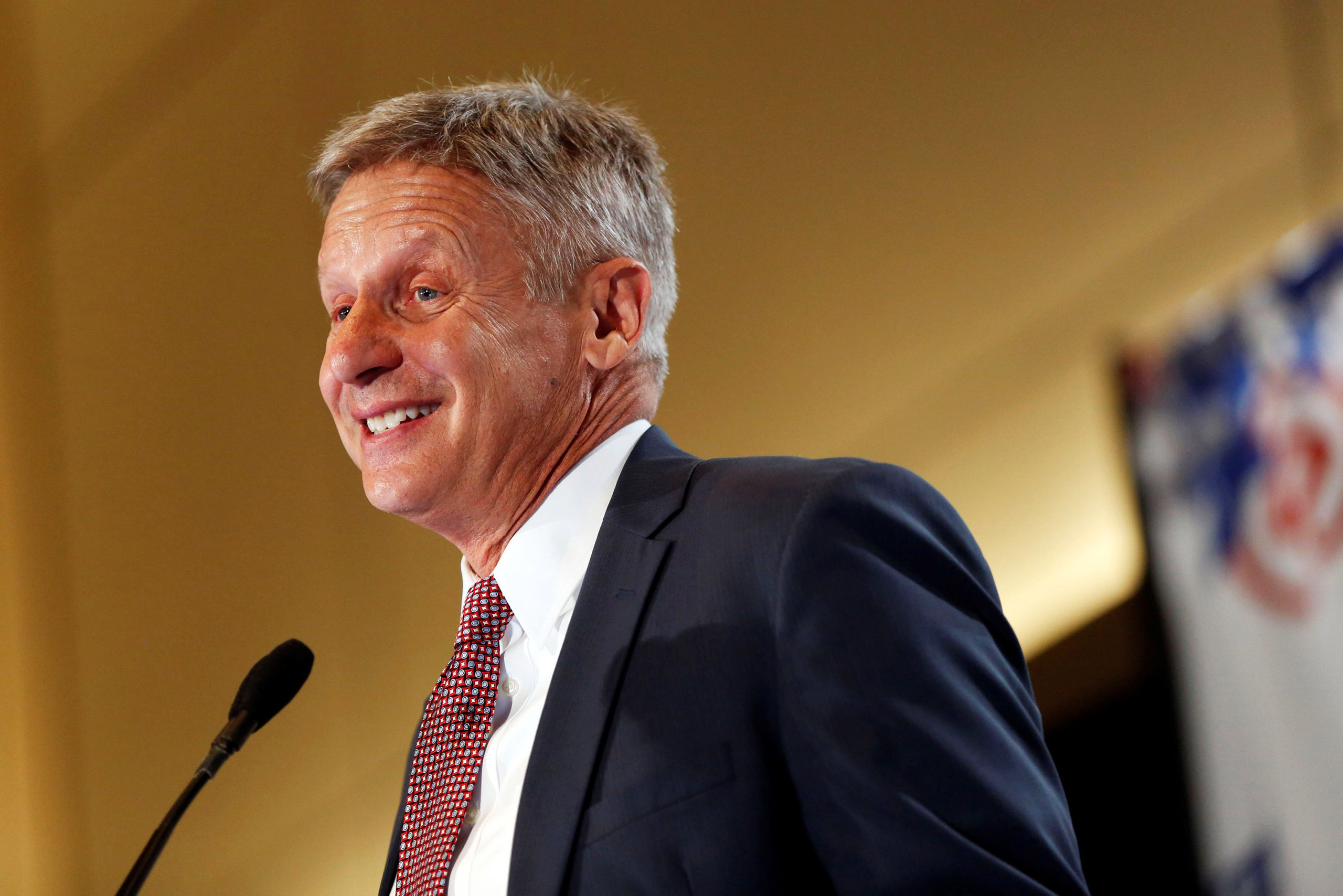 Libertarian Party presidential candidate Gary Johnson speaks during the  Politicon  convention in Pasadena, Calif. on June 25, 2016.