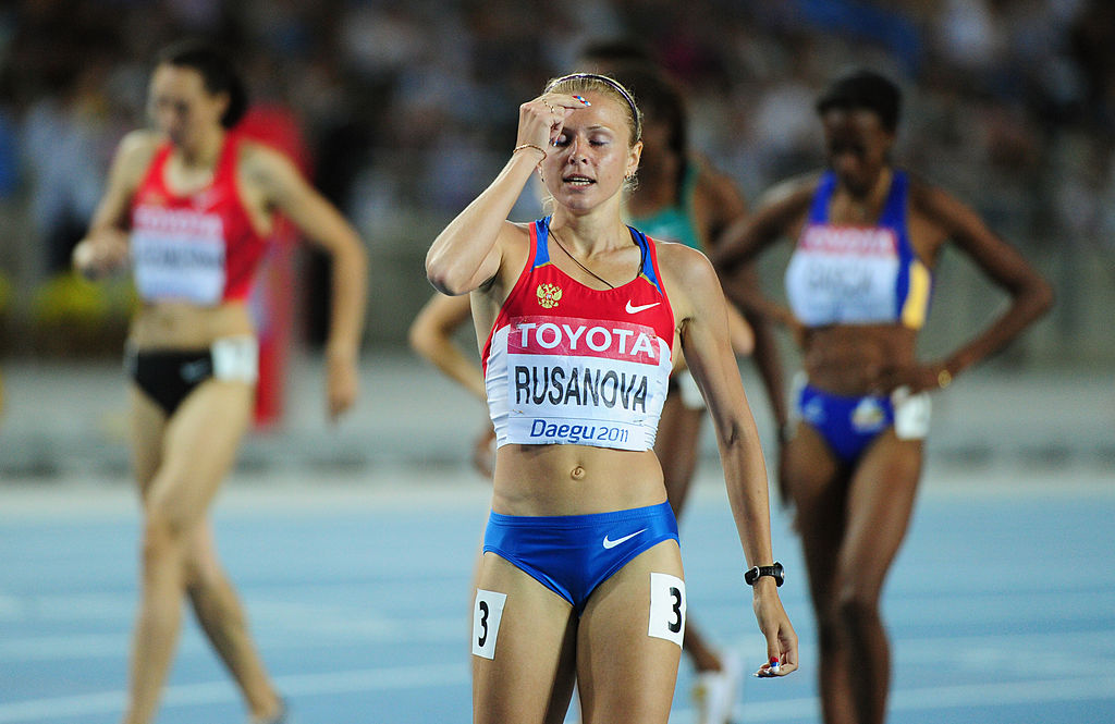 Russia's Yuliya Rusanova reacts after competing in the women's 800 metres semi-finals at the International Association of Athletics Federations (IAAF) World Championships in Daegu on Sept. 2, 2011.