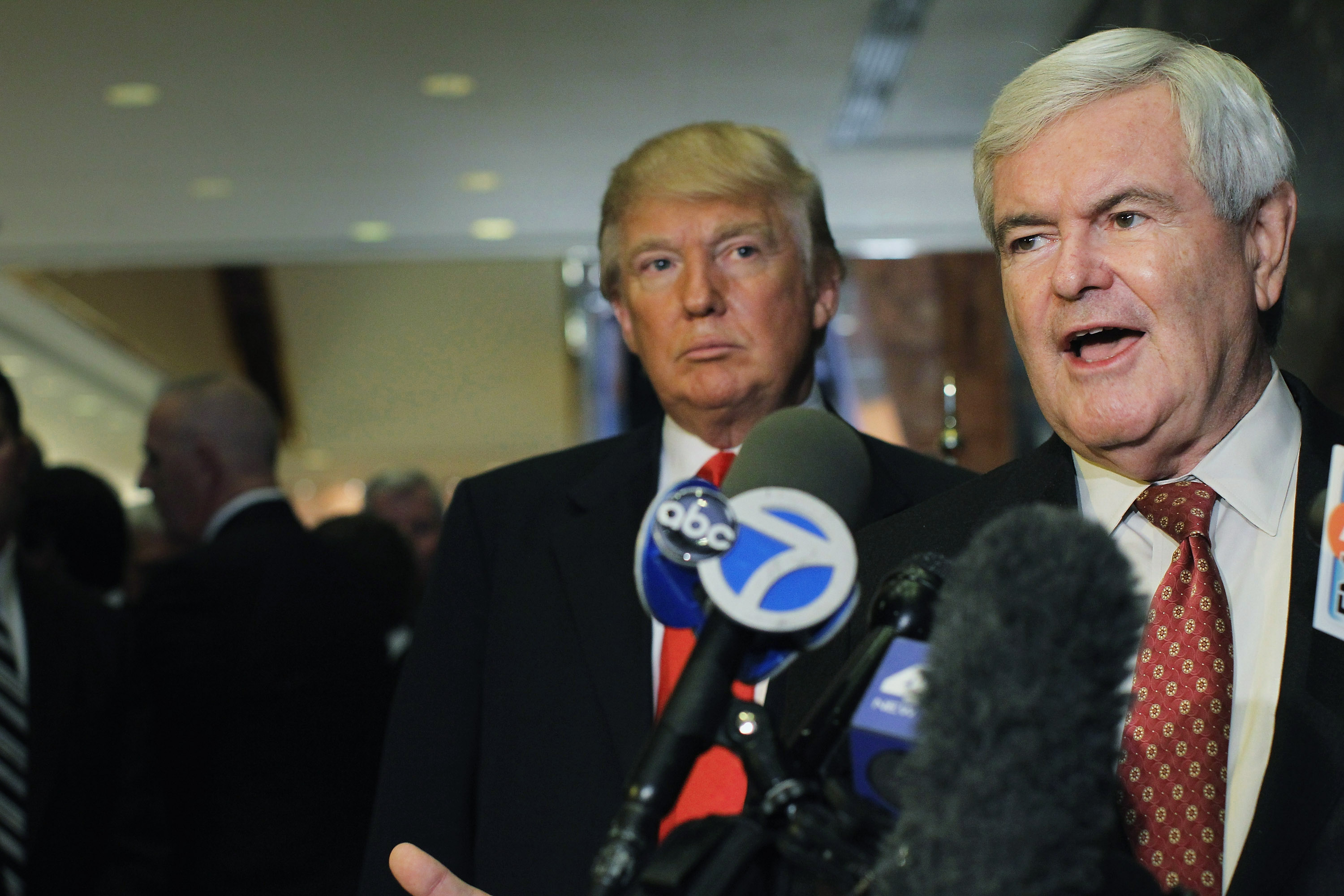 Then-Republican presidential nominee hopeful Newt Gingrich speaking to the media after a meeting with Donald Trump on December 5, 2011 in New York City.