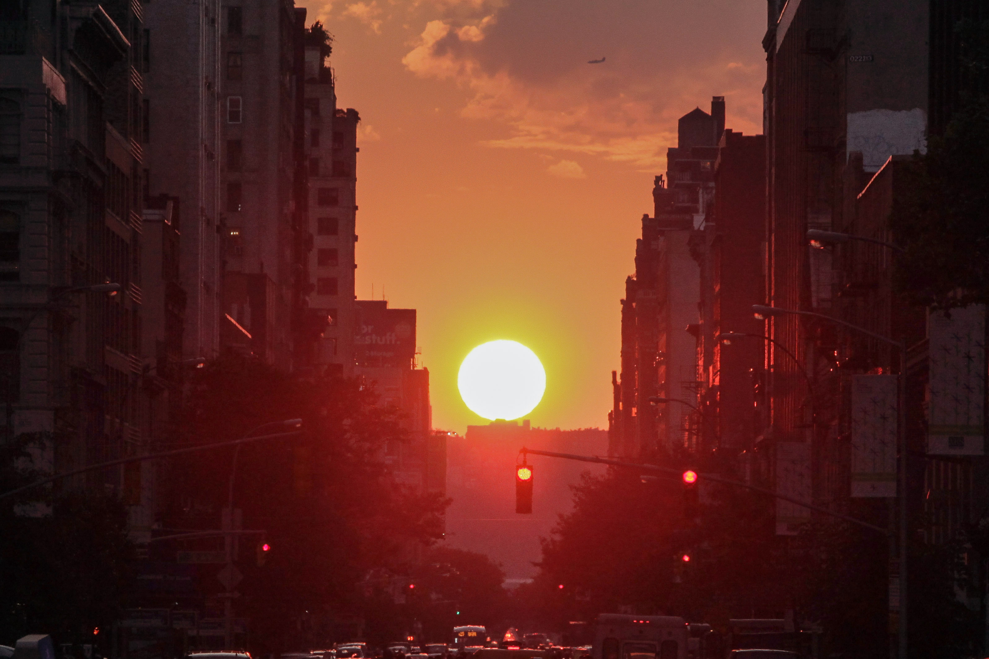The sun sets on 23rd Street during  Manhattanhenge  on July 11, 2014 in New York City.