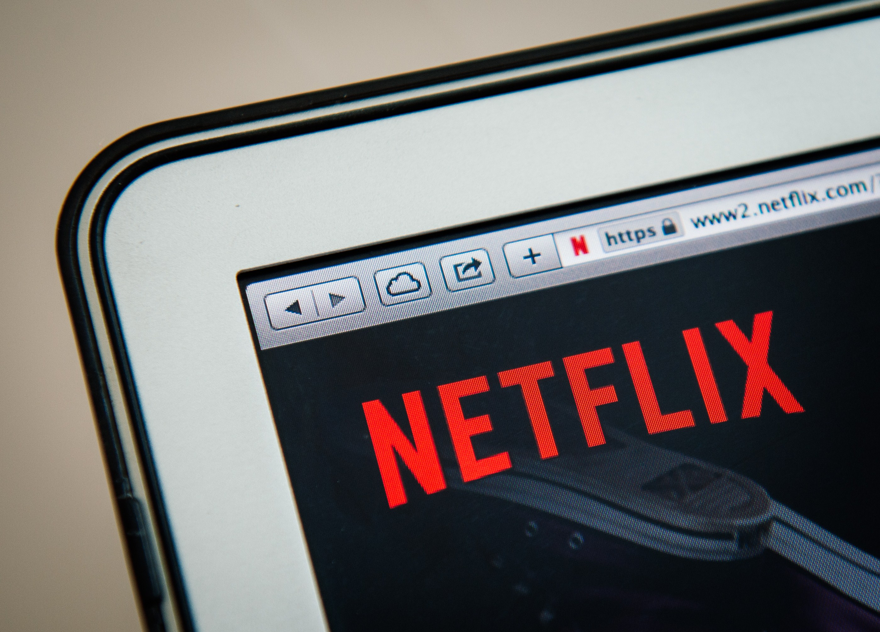 This picture taken on September 11, 2014 shows the on-demand internet streaming media provider, Netflix, on a laptop screen in Stockholm.