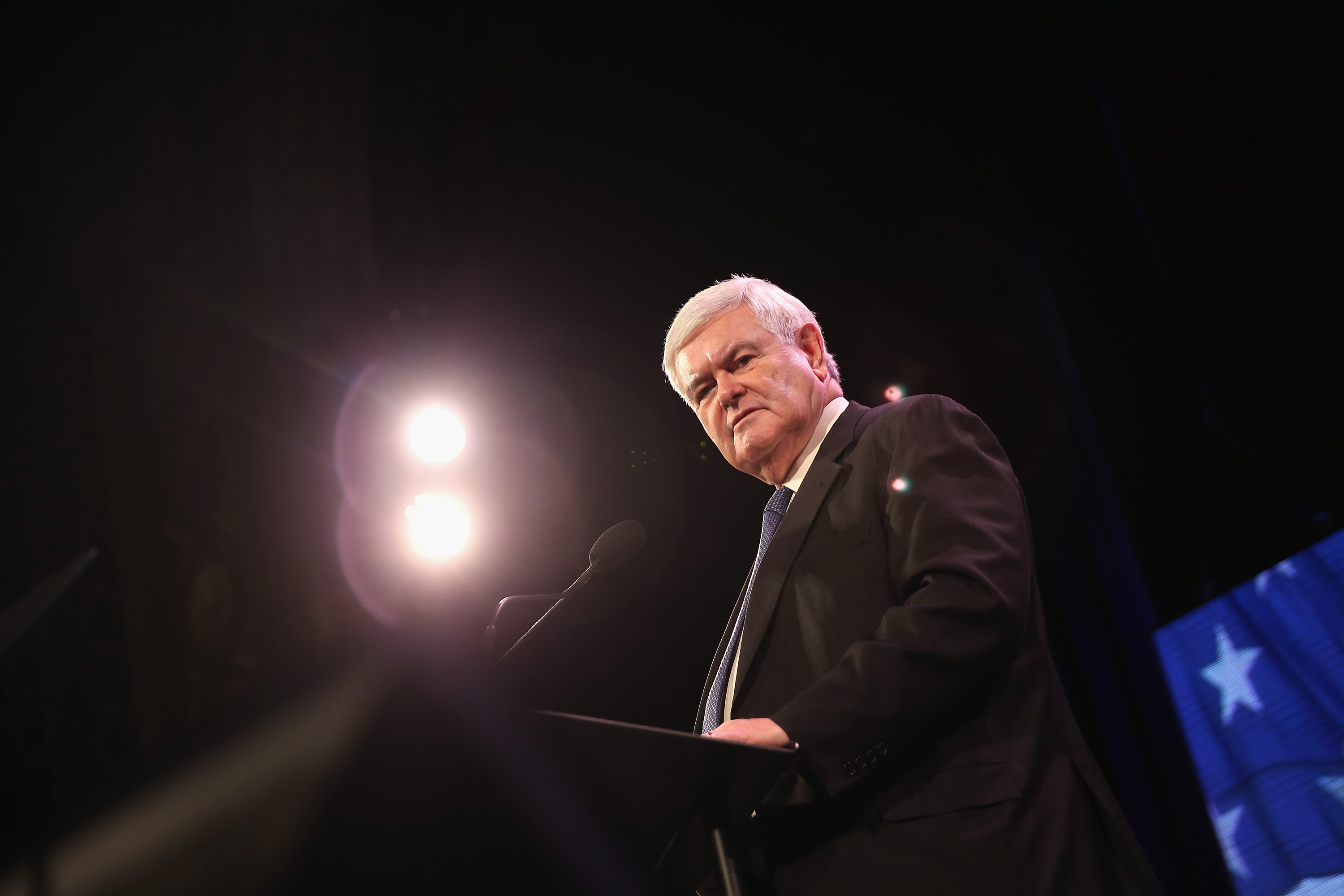Former Speaker of the House Newt Gingrich speaking at an event titled a  Freedom Summit  on January 24, 2015, while not understanding Sharia law.