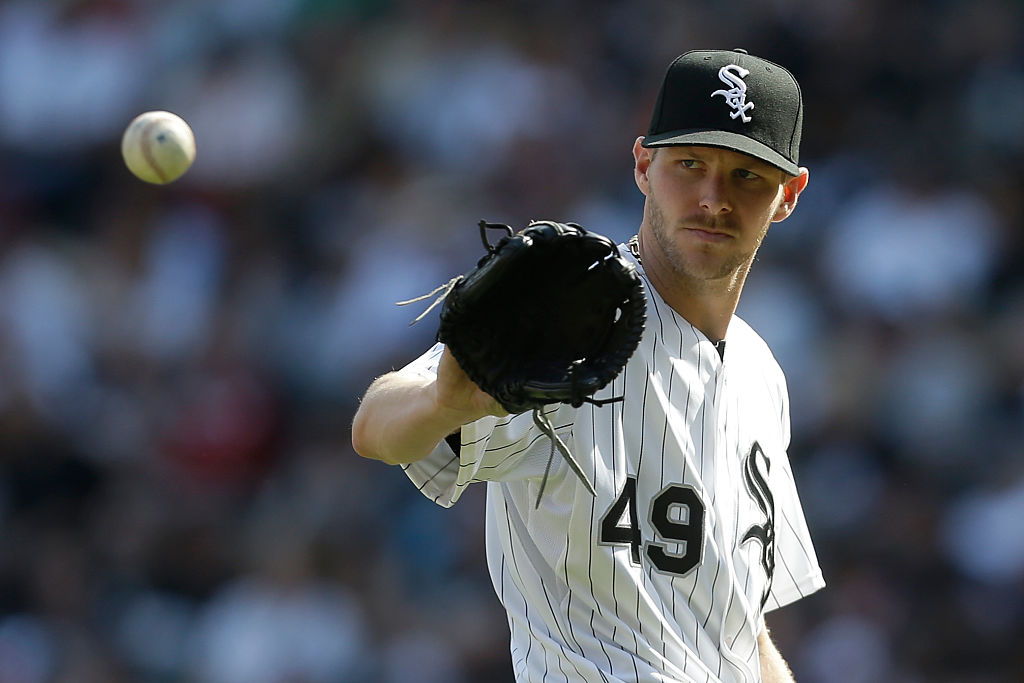 Chris Sale of the Chicago White Sox pitches during the third inning against the Minnesota Twins at U.S. Cellular Field on May 23, 2015 in Chicago, Illinois.