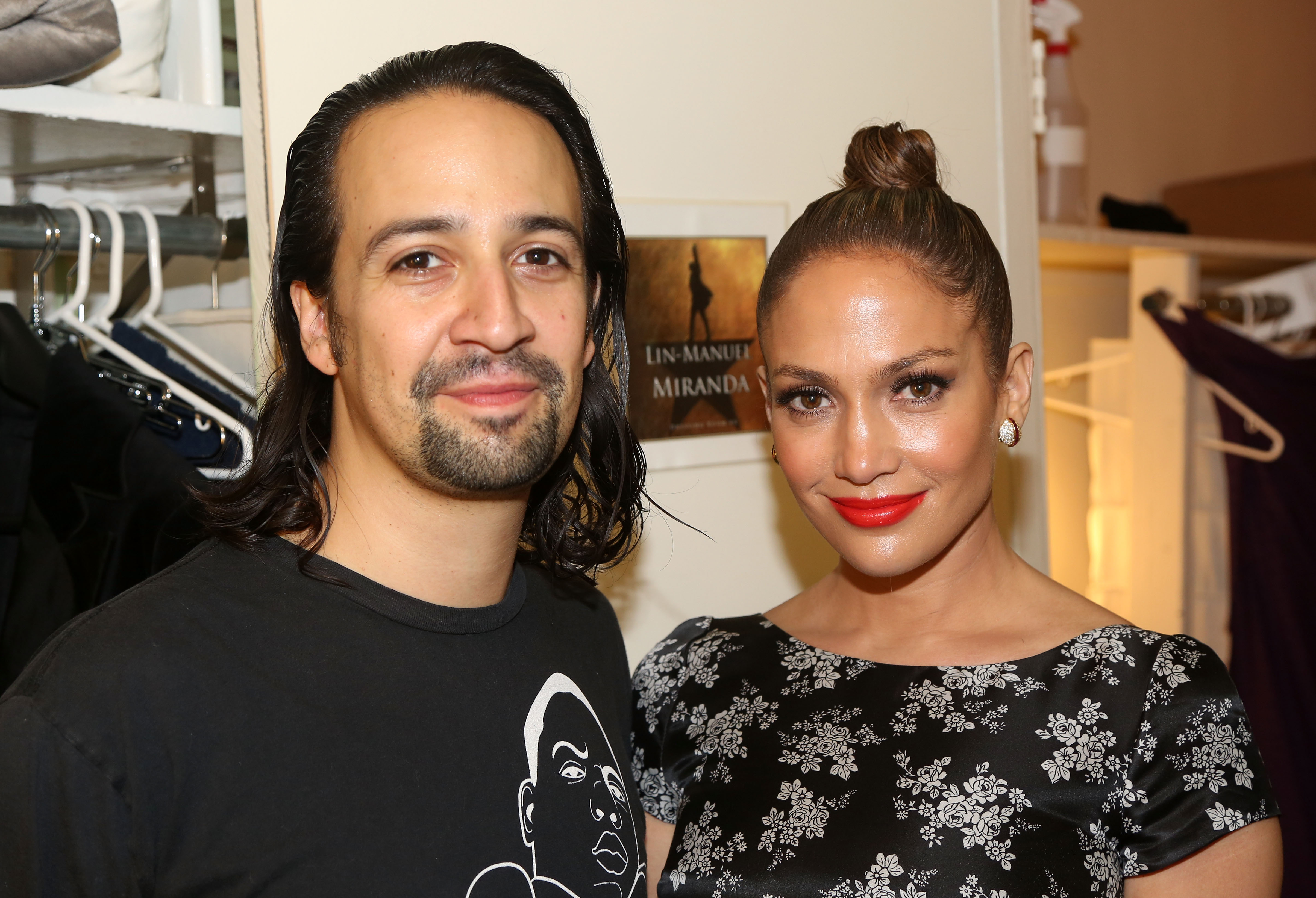 Composer/Lyricist/Star Lin-Manuel Miranda and Jennifer Lopez  pose backstage at the hit new musical  Hamilton  on Broadway at The Richard Rogers Theater on August 1, 2015 in New York City.