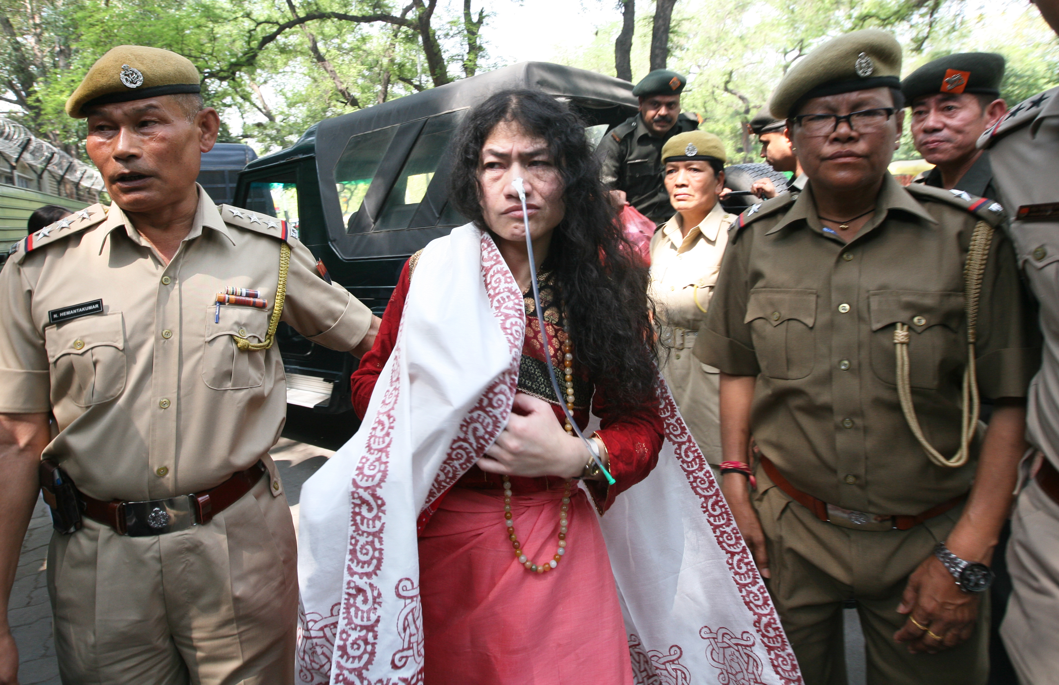 Human rights activist Irom Sharmila arrives at Patiala court for hearing a case of attempted suicide during her fast-unto-death at Jantar Mantar here in 2006 on May 28, 2014 in New Delhi, India.