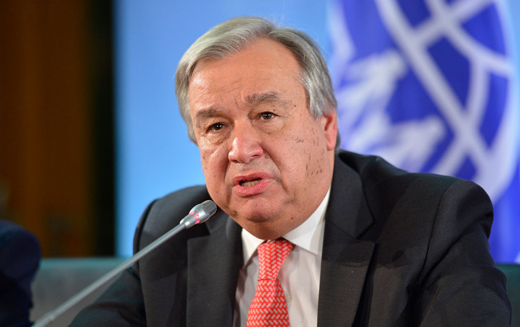 Berlin, Germany - November 04: Antonio Guterres, High Commissioner for Refugees of UNHCR, attends a press conference in german foreign office  on November 04, 2015 in Berlin, Germany. (Photo by Michael Gottschalk/Photothek via Getty Images)
