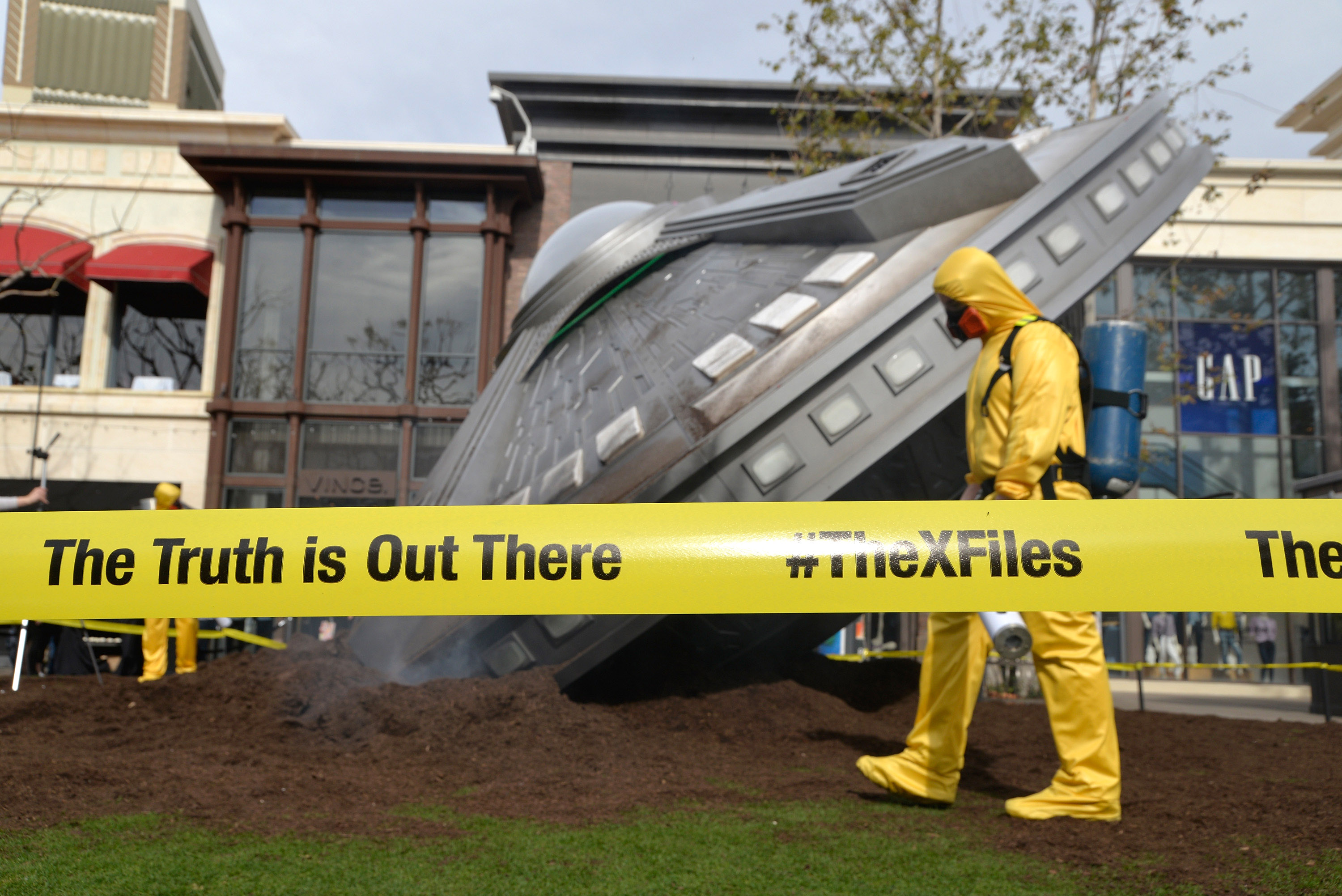 Atmosphere shot of a crashed UFO at a premiere episode screening of FOX's  The X-Files  at The Grove in Los Angeles on January 22, 2016.