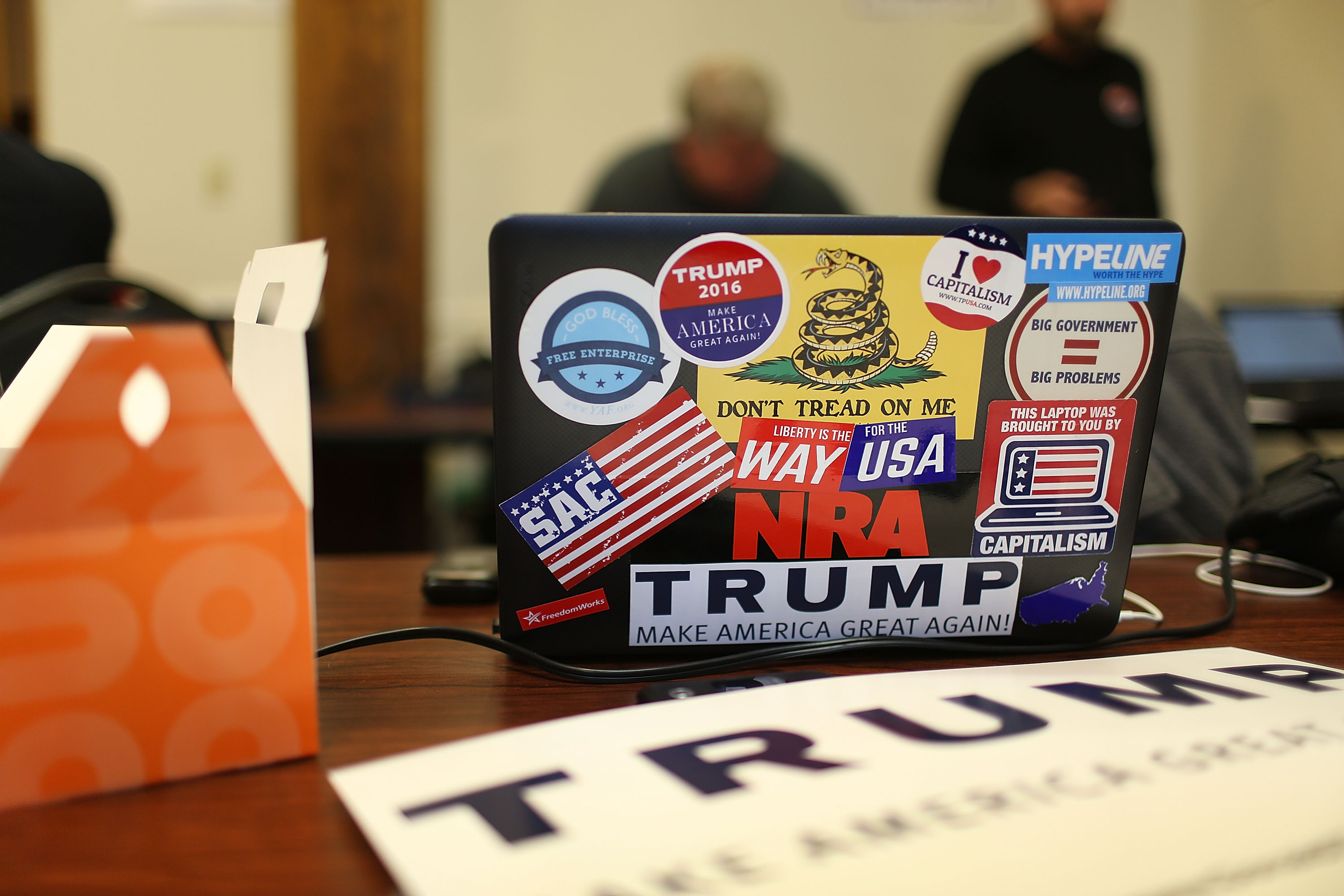 A laptop freshly prepared for tweeting for Trump.