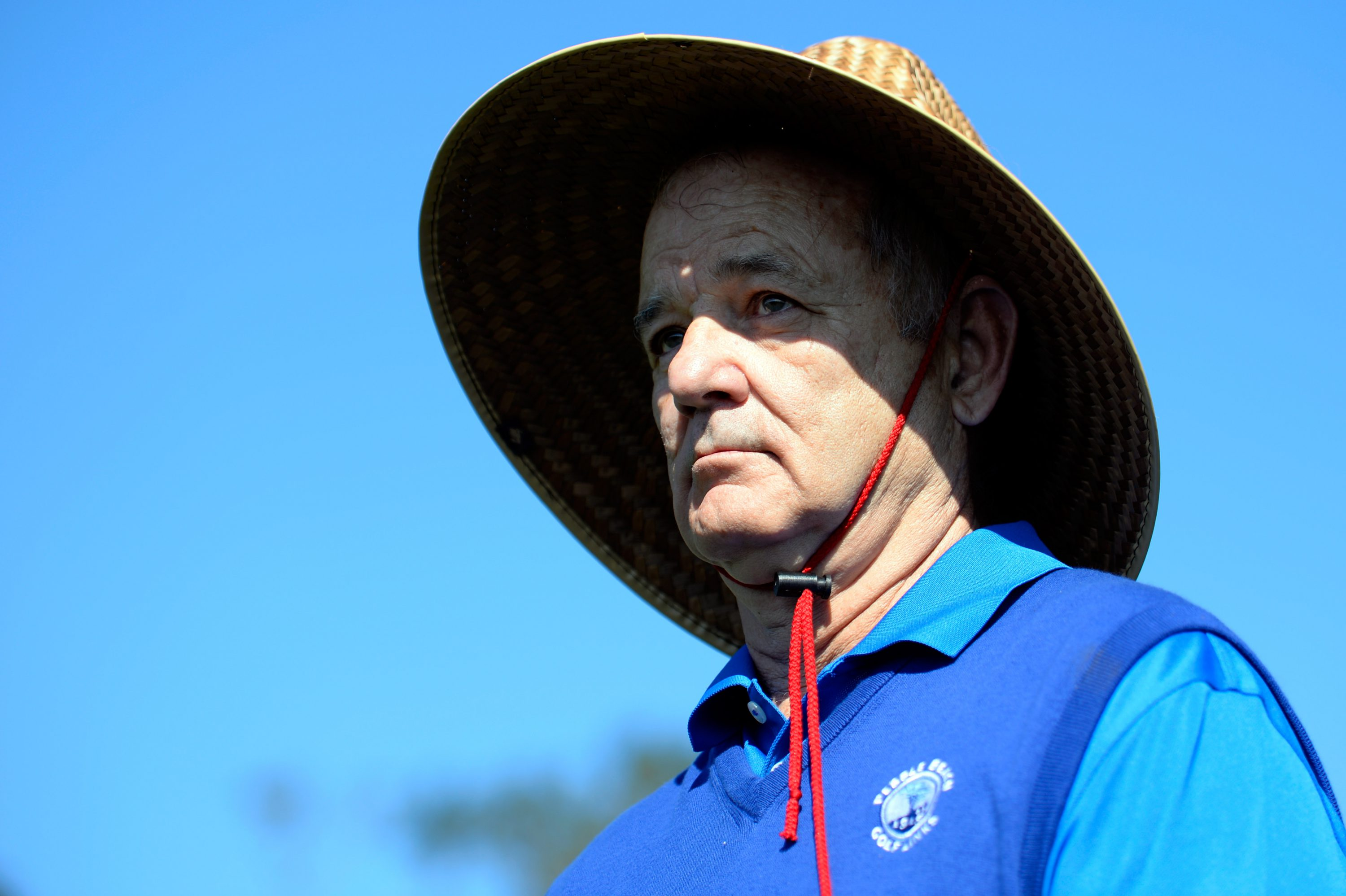 Bill Murray looks on at the 14th tee box during round three of the AT&T Pebble Beach National Pro-Am at the Pebble Beach Golf Links on February 13, 2016 in Pebble Beach, California.