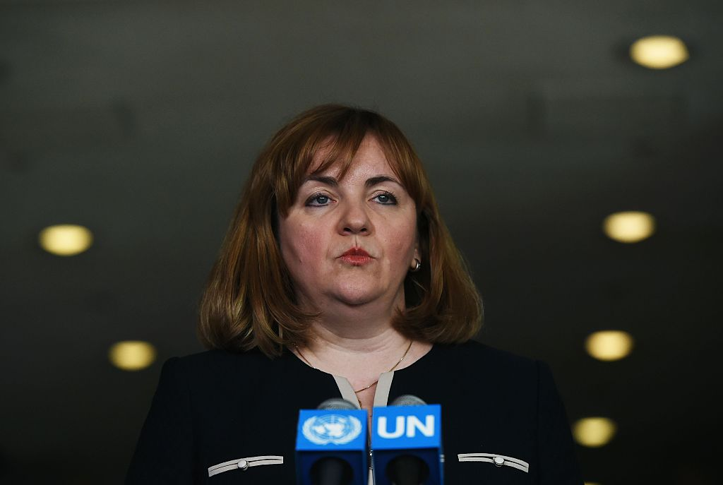 Natalia Gherman, former deputy prime minister and minister for Foreign aAffairs and European integration of Moldova, speaks during a press briefing following the Seventieth session of Informal Dialogues with Candidates for the Position of Secretary-General at United Nations headquarters in New York on April 13, 2016.                                                         pres                   Gherman is one of the eight contenders who are taking the podium before the UN General Assembly's 193 nations to lay out their vision for the job to be the next secretary general. The hearings are part of a broad push for transparency in the selection of UN secretary general Ban Ki-moon's successor, who will lead an organization of 40,000-plus employees with a budget of $10 billion.                    / AFP / Jewel SAMAD        (Photo credit should read JEWEL SAMAD/AFP/Getty Images)